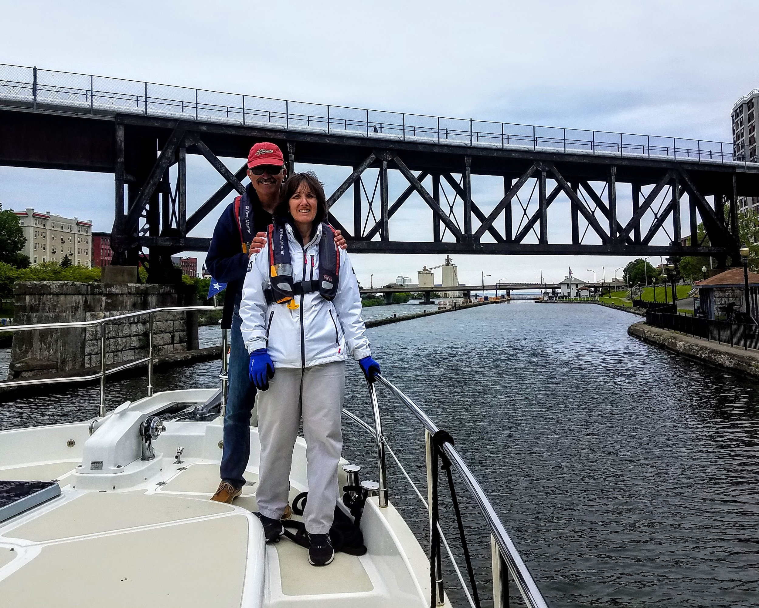 Maggie and Owen in front of the final lock…lock 8