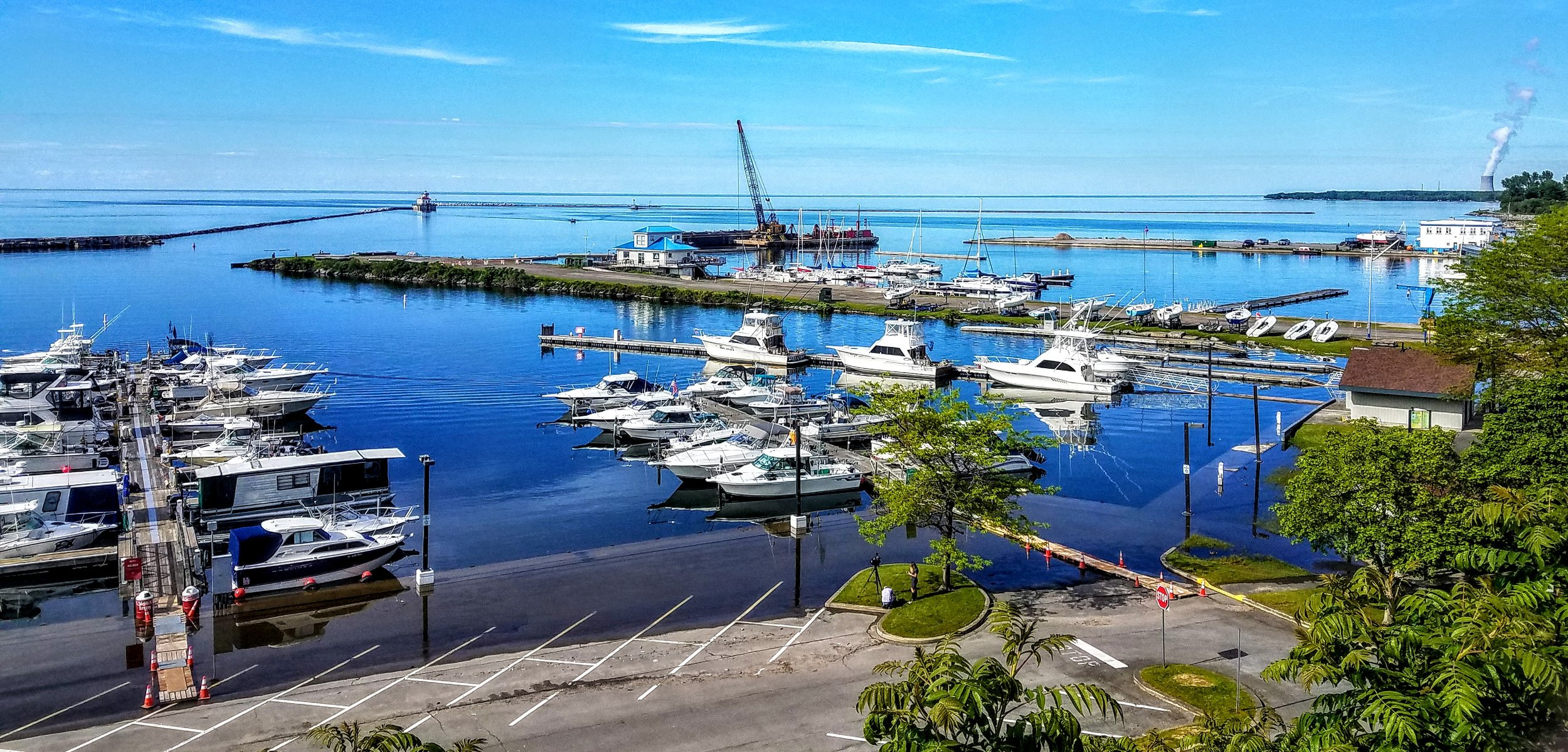 High water is still evident at the Oswego International Marina.  Lake Ontario beyond looks nice and flat…we hope for similar conditions for our crossing tomorrow.