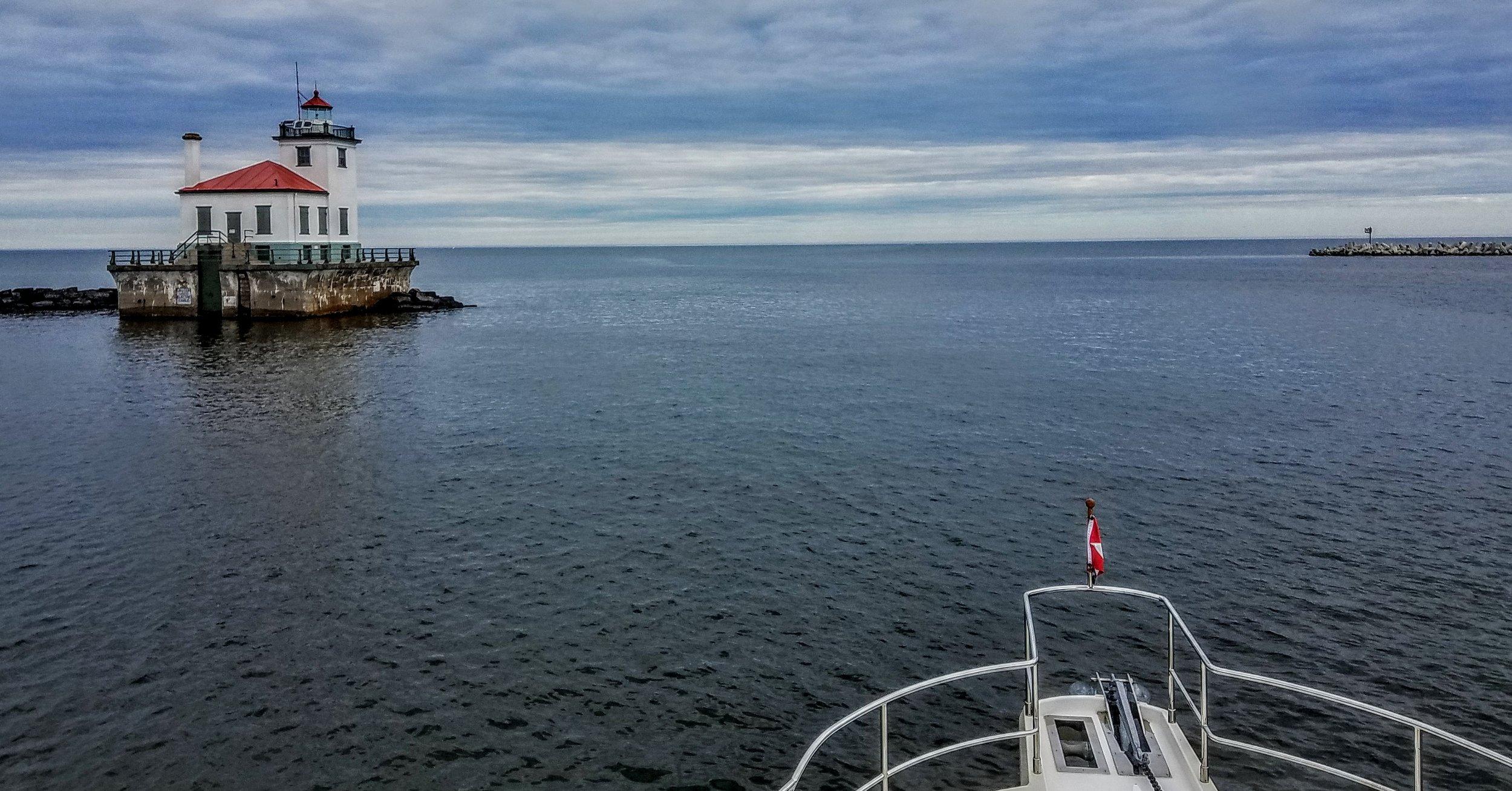 Departing Oswego, NY looking across Lake Ontario
