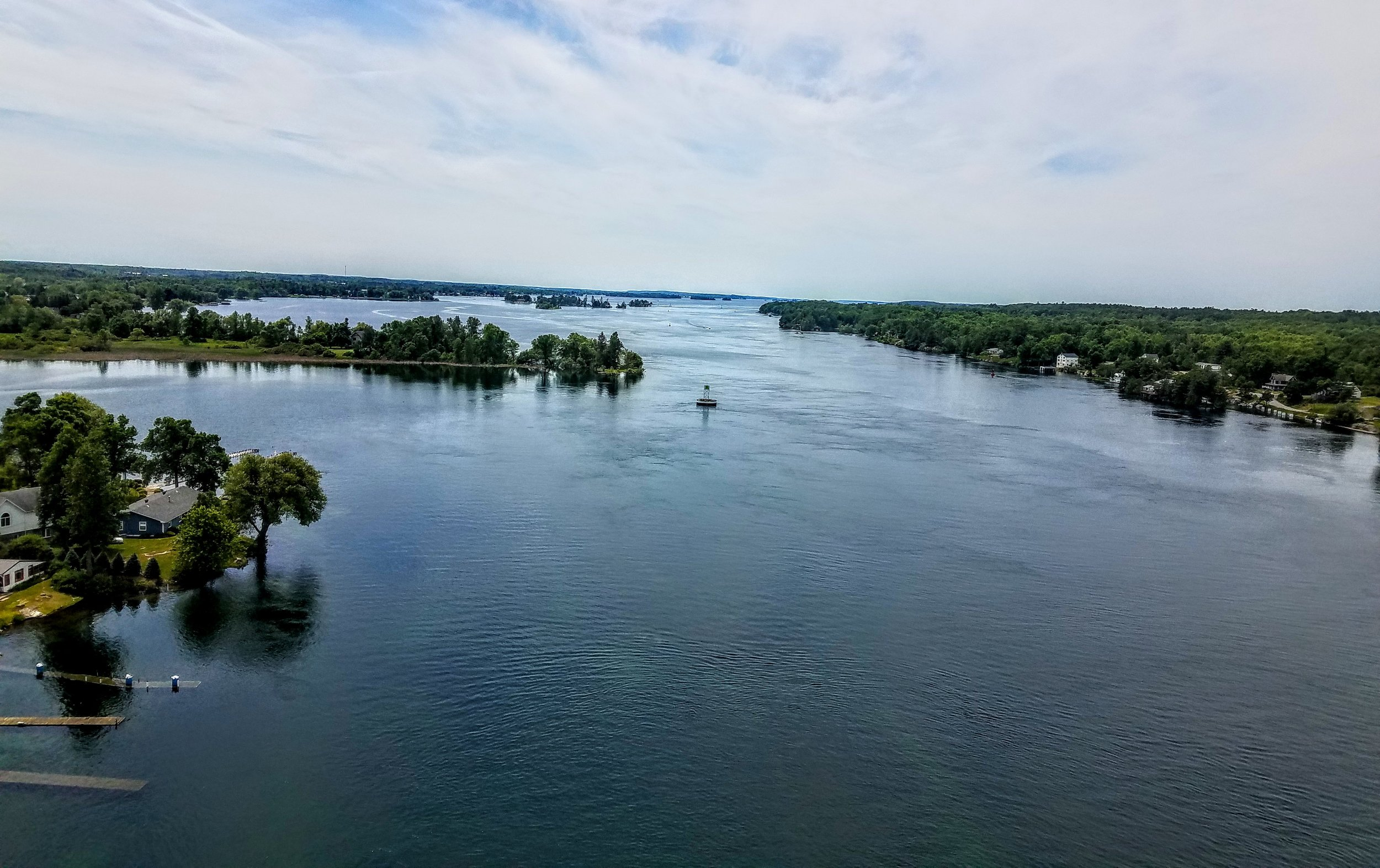 A view of the swollen St. Lawrence River from atop the Thousand Islands Bridge
