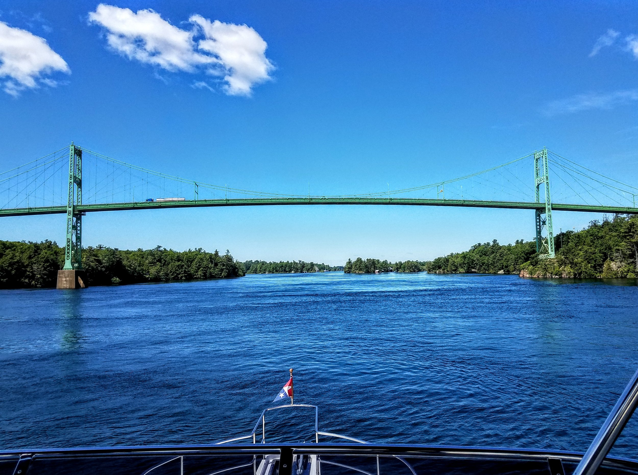 Entering International waters as we pass under the Canadian side of the Thousand Islands Bridge