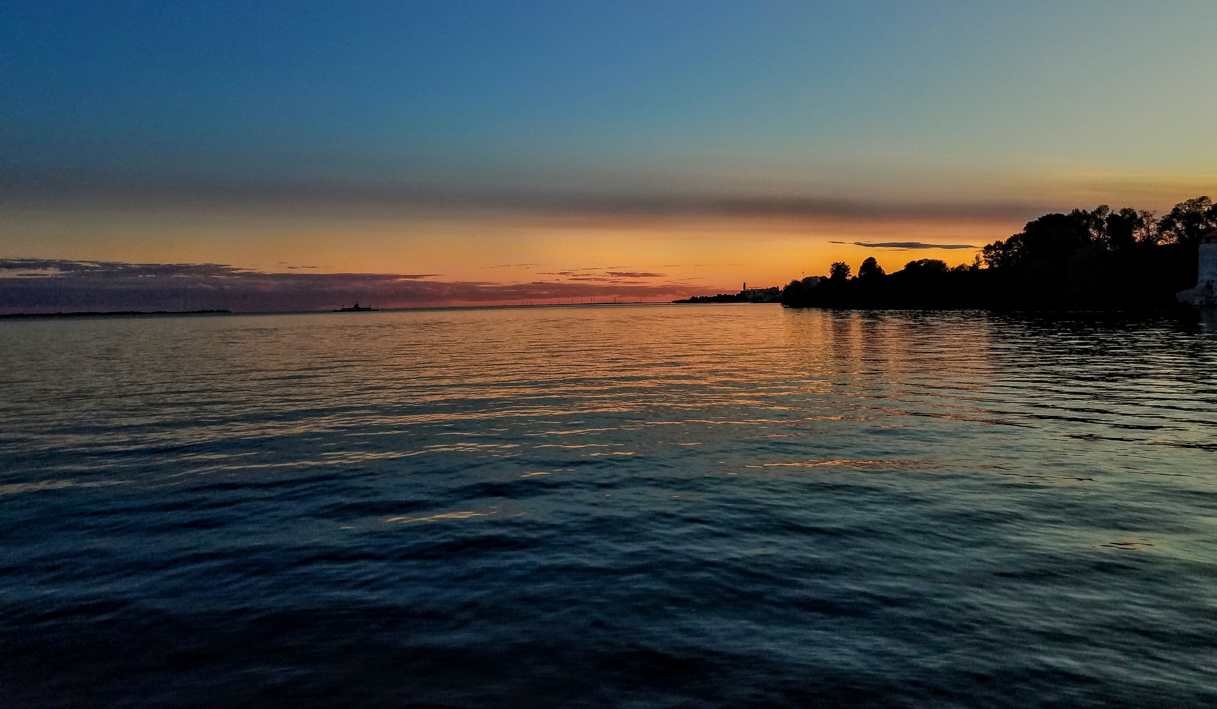 The first summer sunset at anchor in Kingston, ON