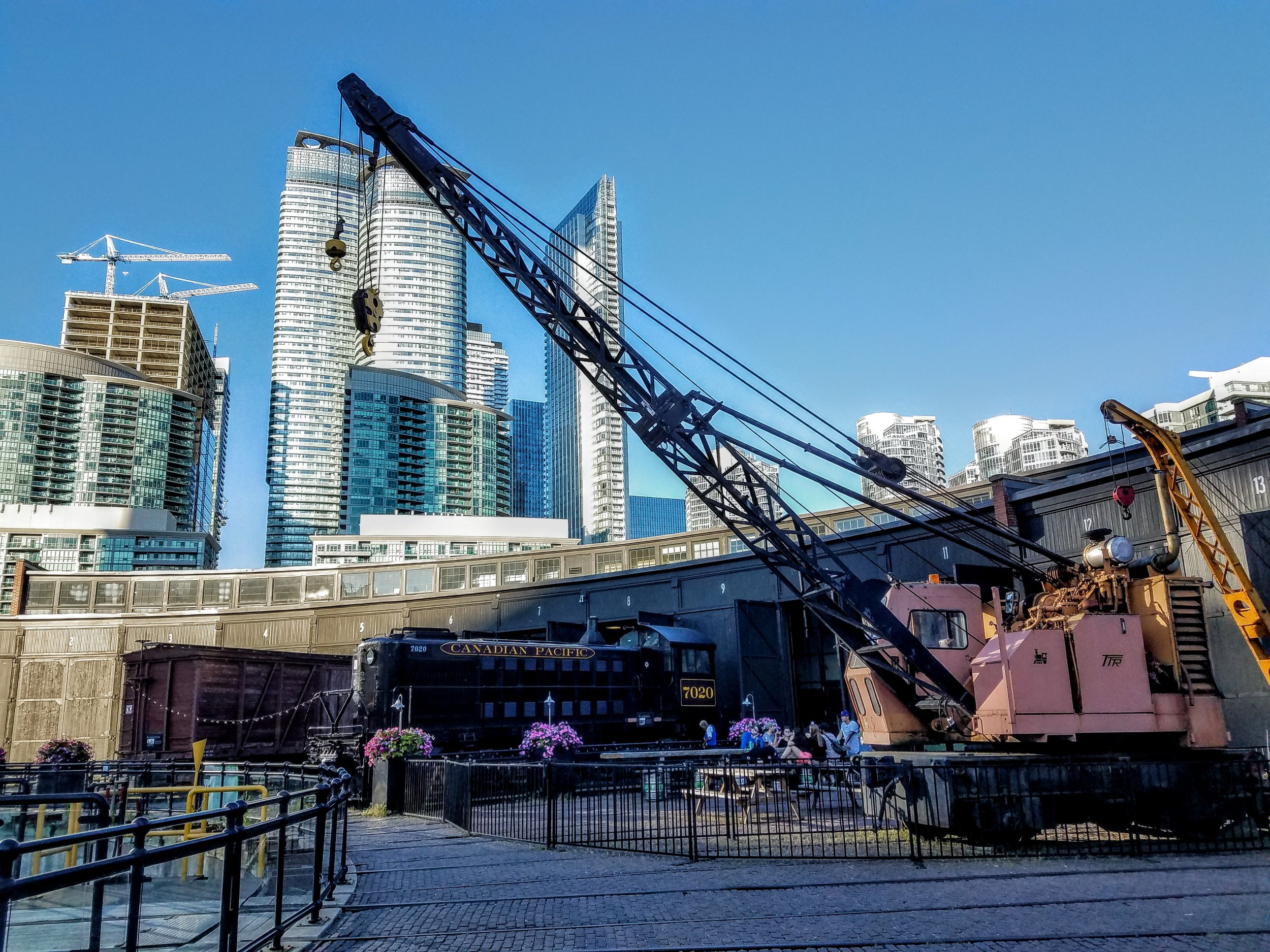 The Roundhouse stations and historic trains and cranes