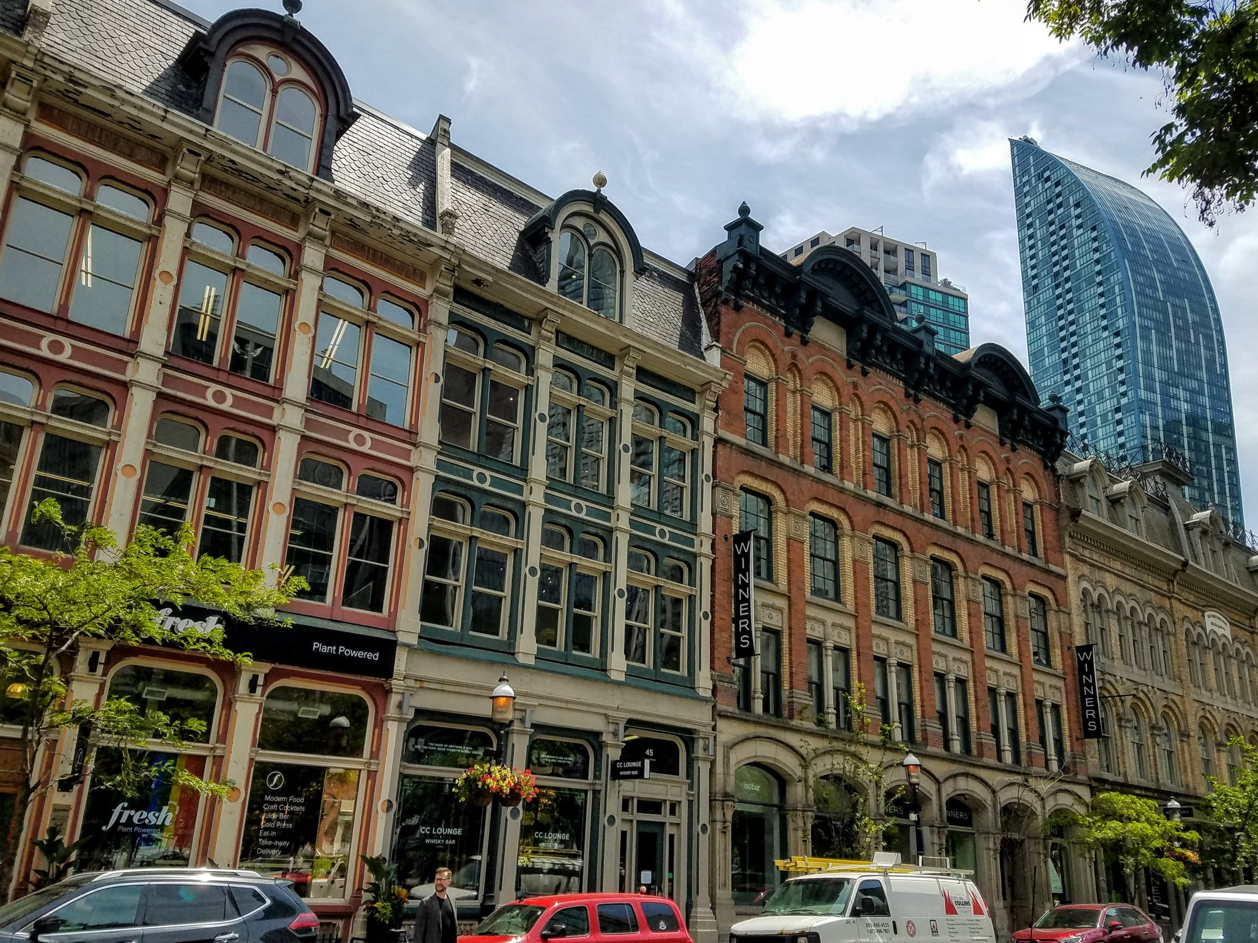 The older buildings in the Historic Distillery District