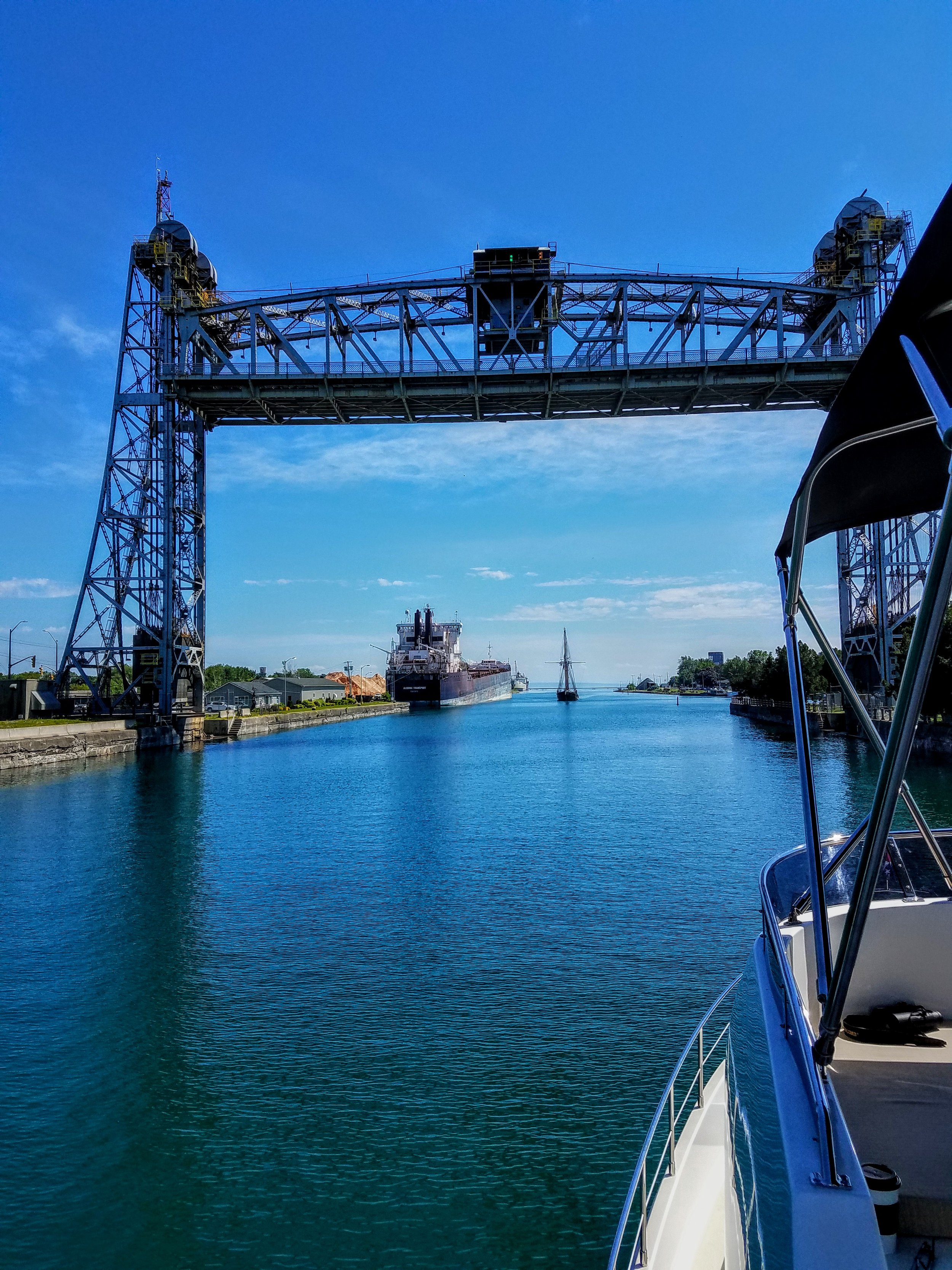 The end of the Welland Canal…the last elevator bridge and the marina is in site…and so is my beer.