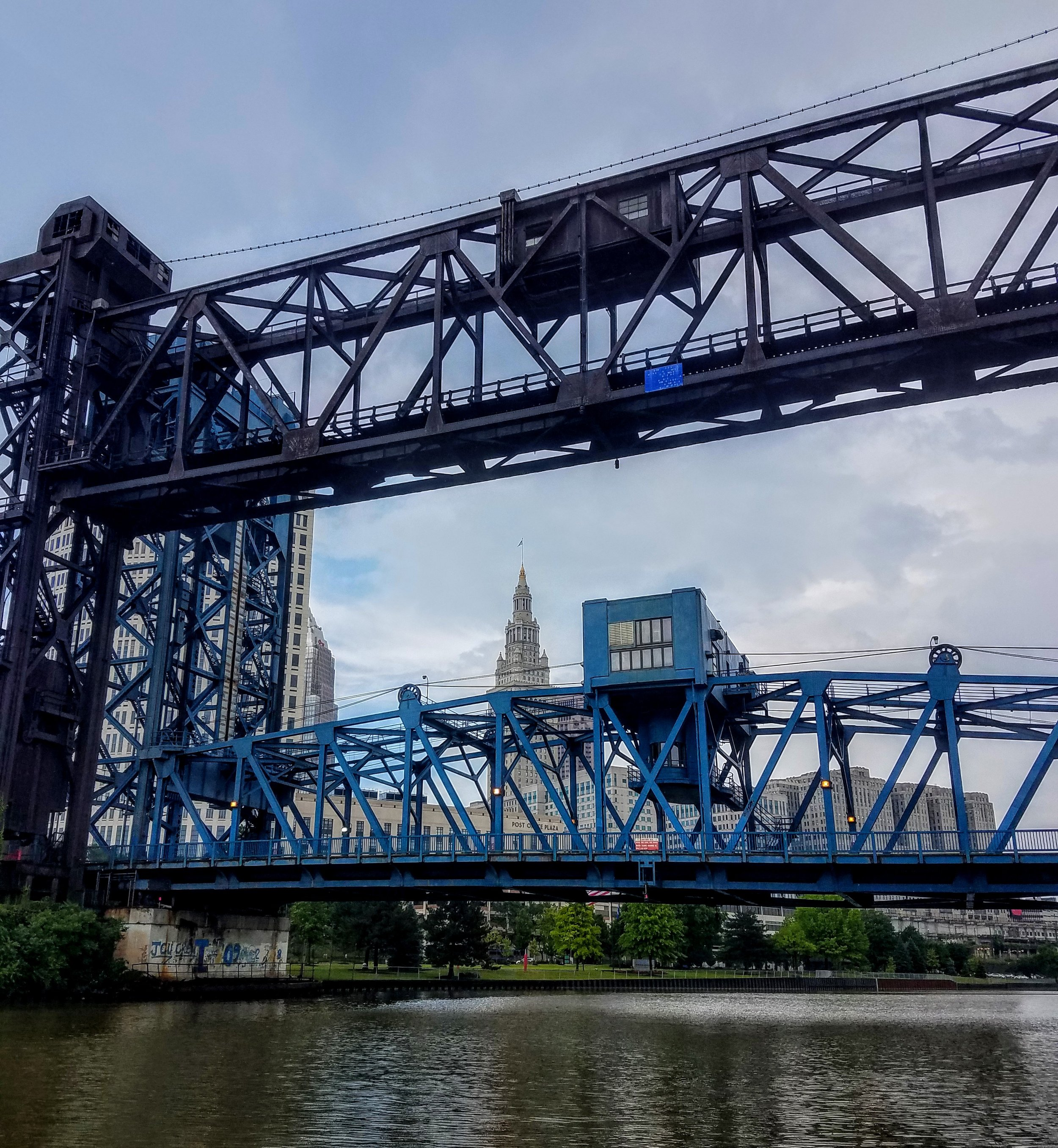 A tender ride along the Cuyahoga River. In the land of bridges..two Railroad elevator bridges