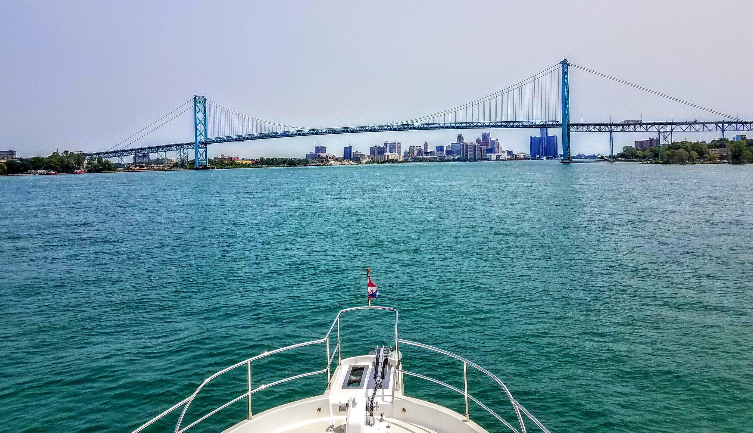 International Bridge greats us as we enter the Detroit Harbor