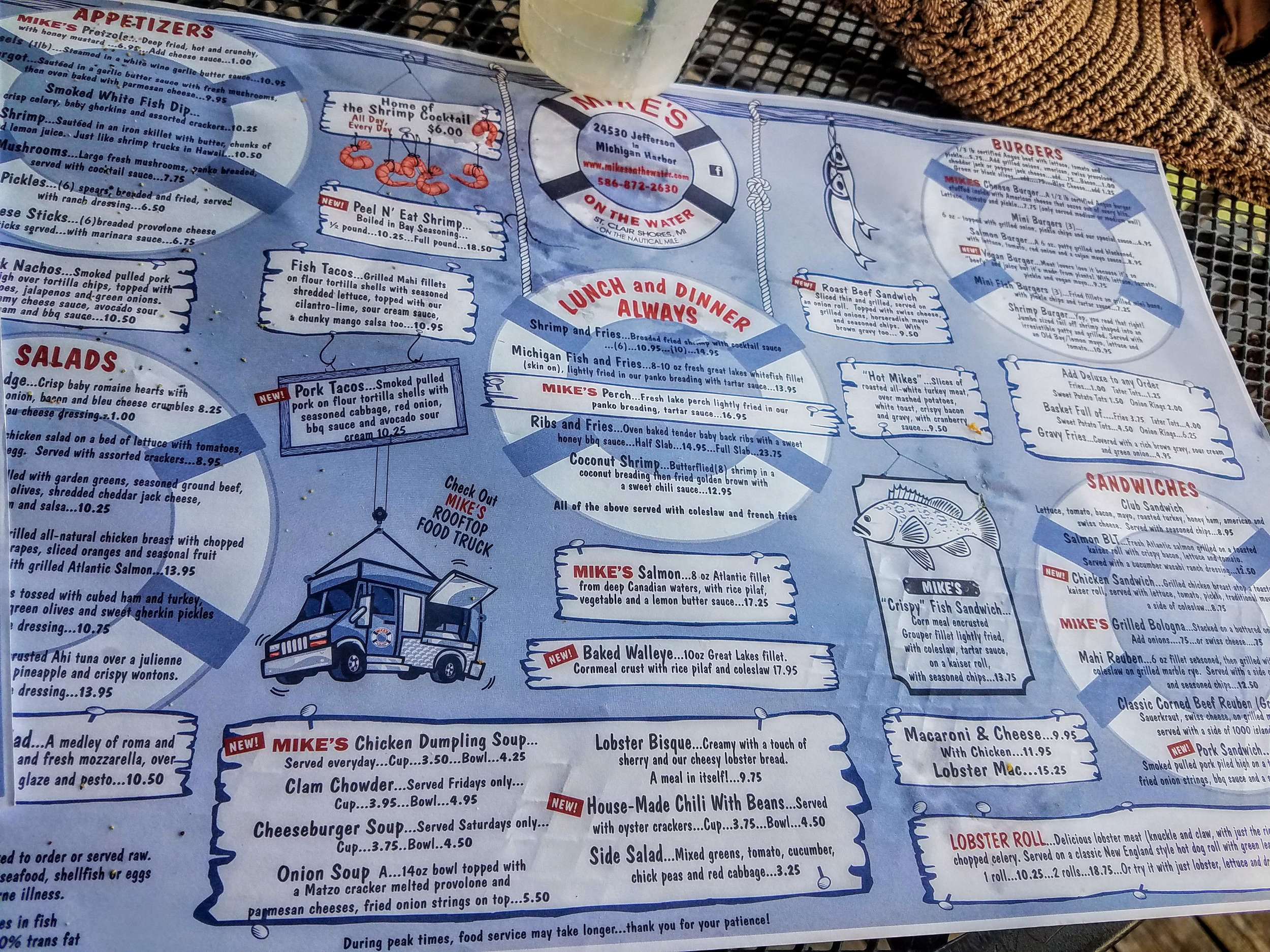 The menu at Mikes on the Water in St. Clair Shores