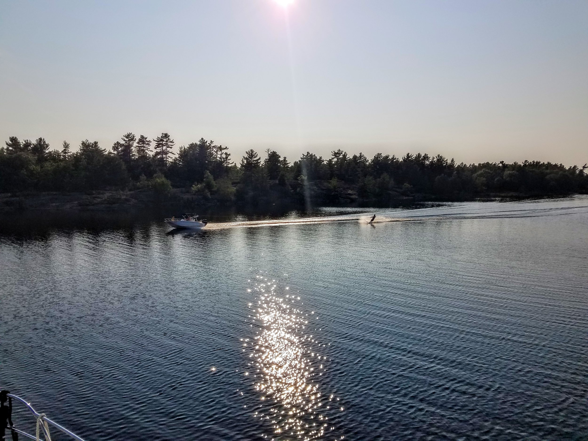 A perfect night to water ski on Long Bay
