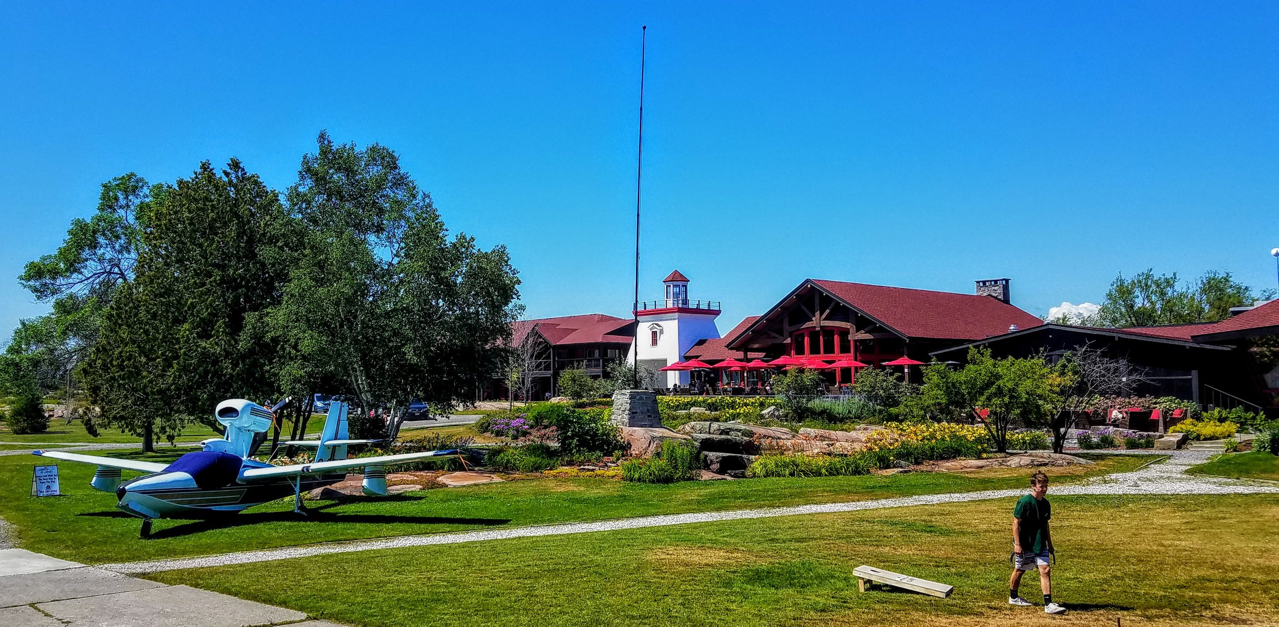 The main Sportsman's Lodge with the seaplane and full resort amenities