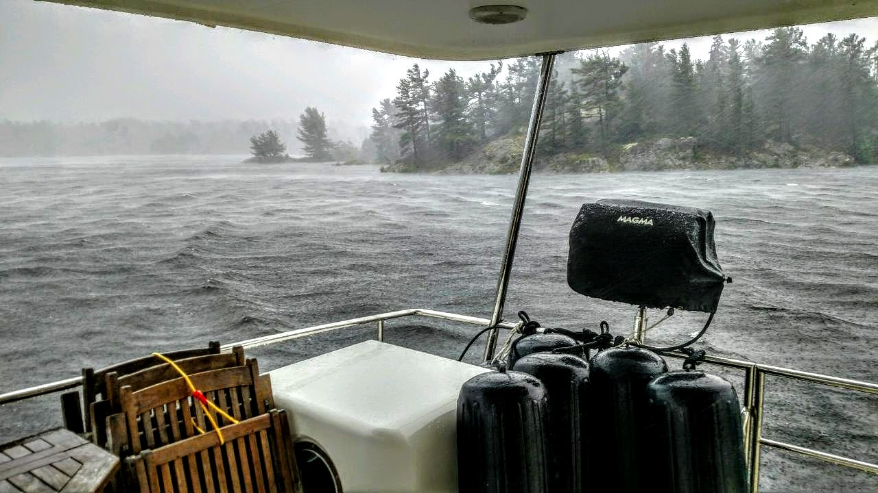 This was quite an afternoon squall while anchored at MIll Lake. We looked up the wind speed and it was reported to be 40 knots. Picture by Larry McCullough (some of us were too busy running around prepping the foul weather gear to think about taking a photo!!!)