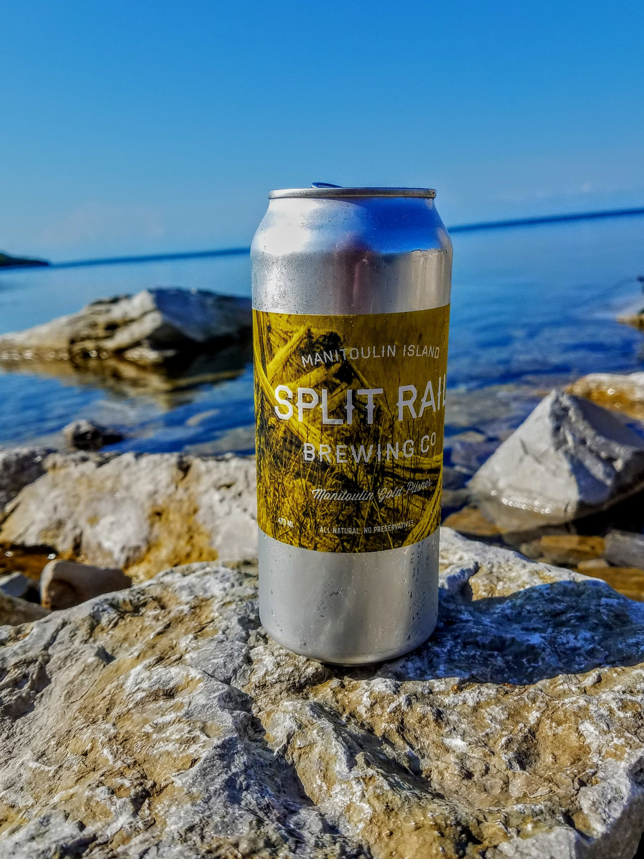 Split Rail brewing was started by Andrea and Eleanor in a garage on Manitoulin Island in 2010. Manitoulin is the largest freshwater island in the world. The brewery opened in Gore Bay in 2015. We enjoy a frosty Copper Lager by the water.
