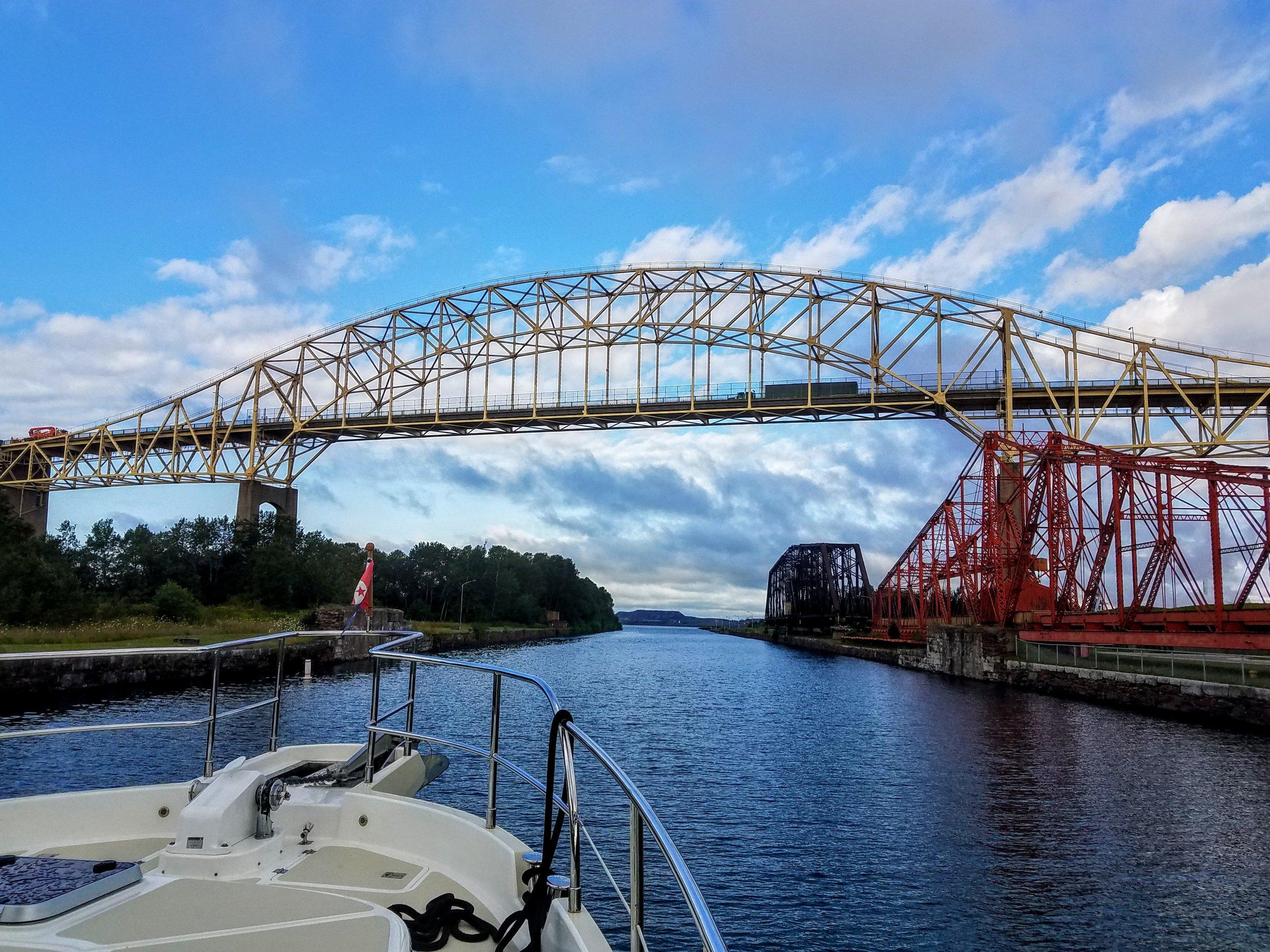 Going under the International Bridge to Lake Superior