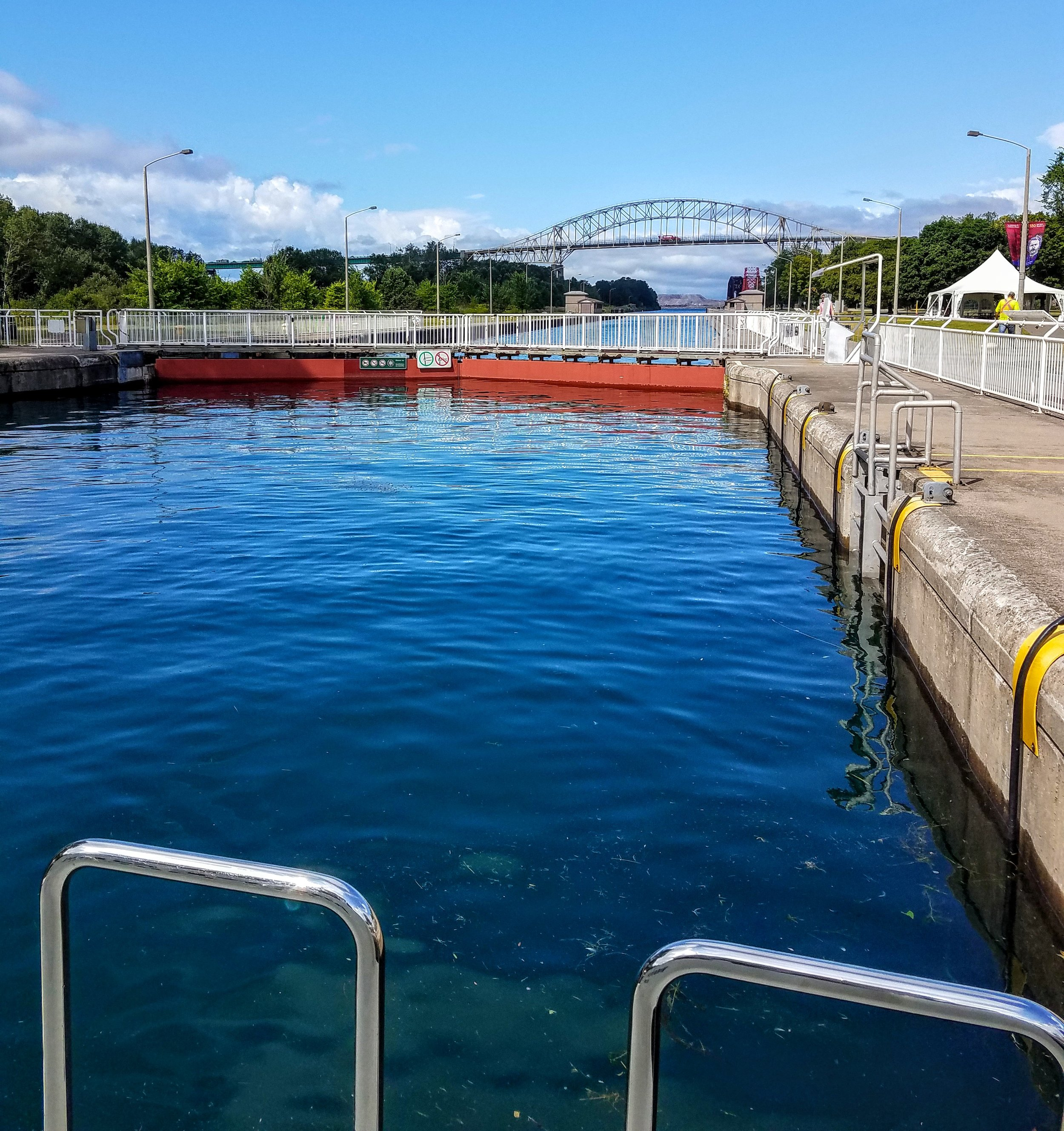 The gates shut as we 'down lock' on return from Lake Superior