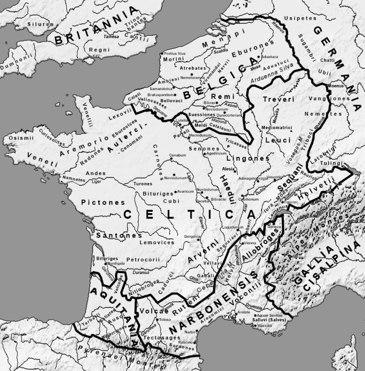 Gaul local tribes, regions, and cities, circa 54 BCE