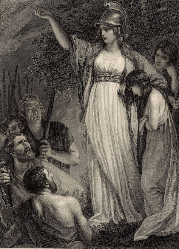 Engraving of Boudica, 1793