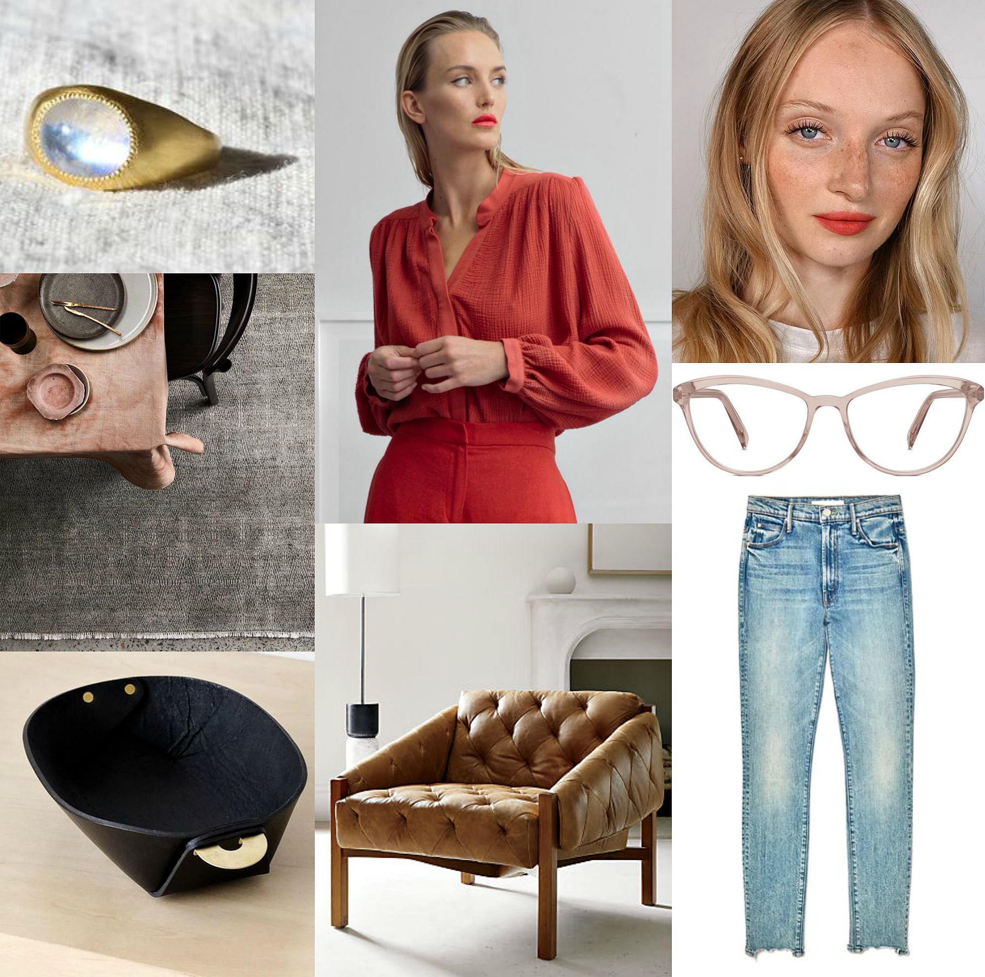 moonstone ring ,  red marish top ,  zip…my favorite red lipstick ,  paragon rug ,  louise glasses ,  leather and brass catch-all,    leather tufted chair ,  stunner ankle chew jeans