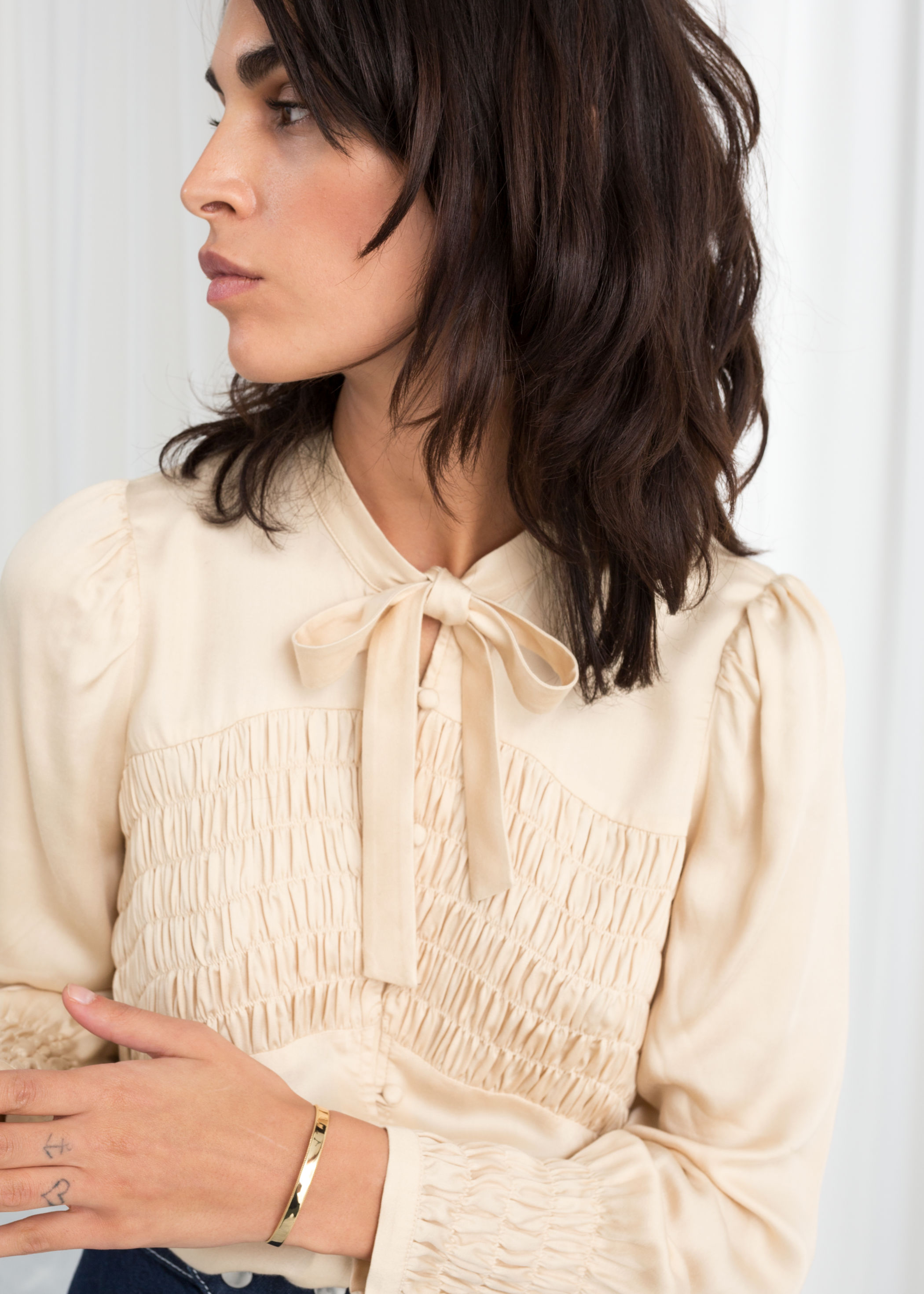 smocked bow blouse