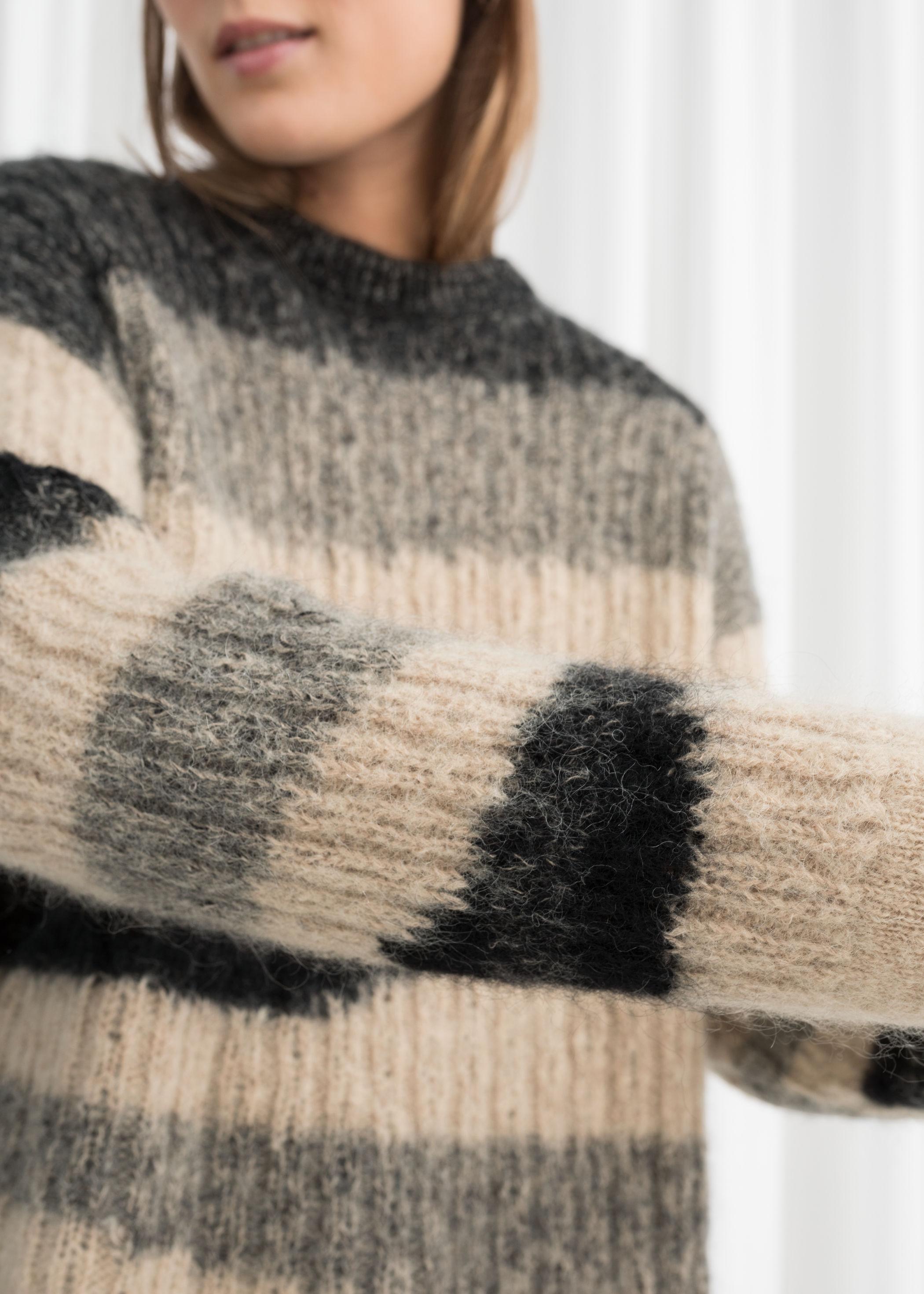 asymmetric striped wool blend sweater