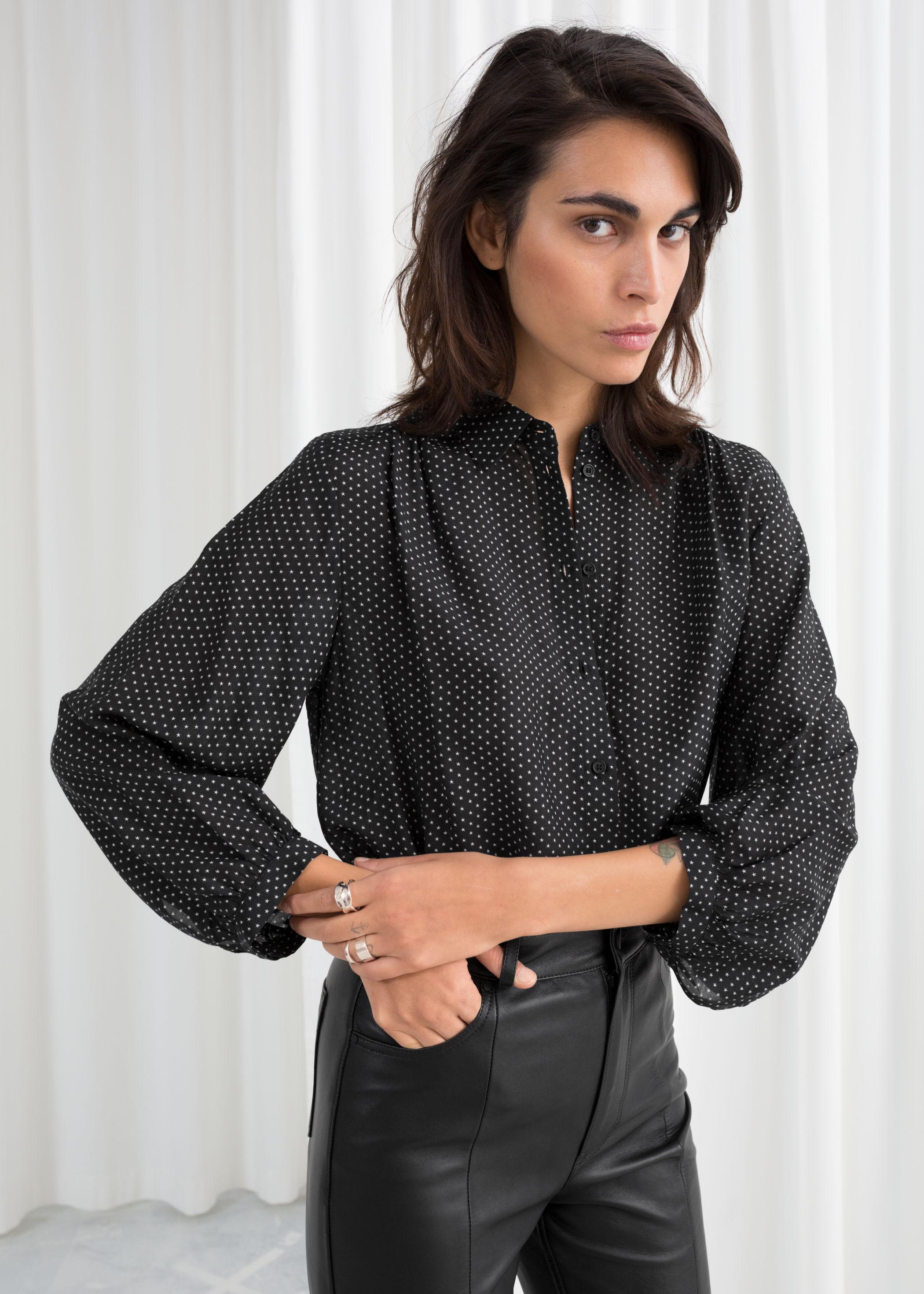star print balloon sleeve blouse