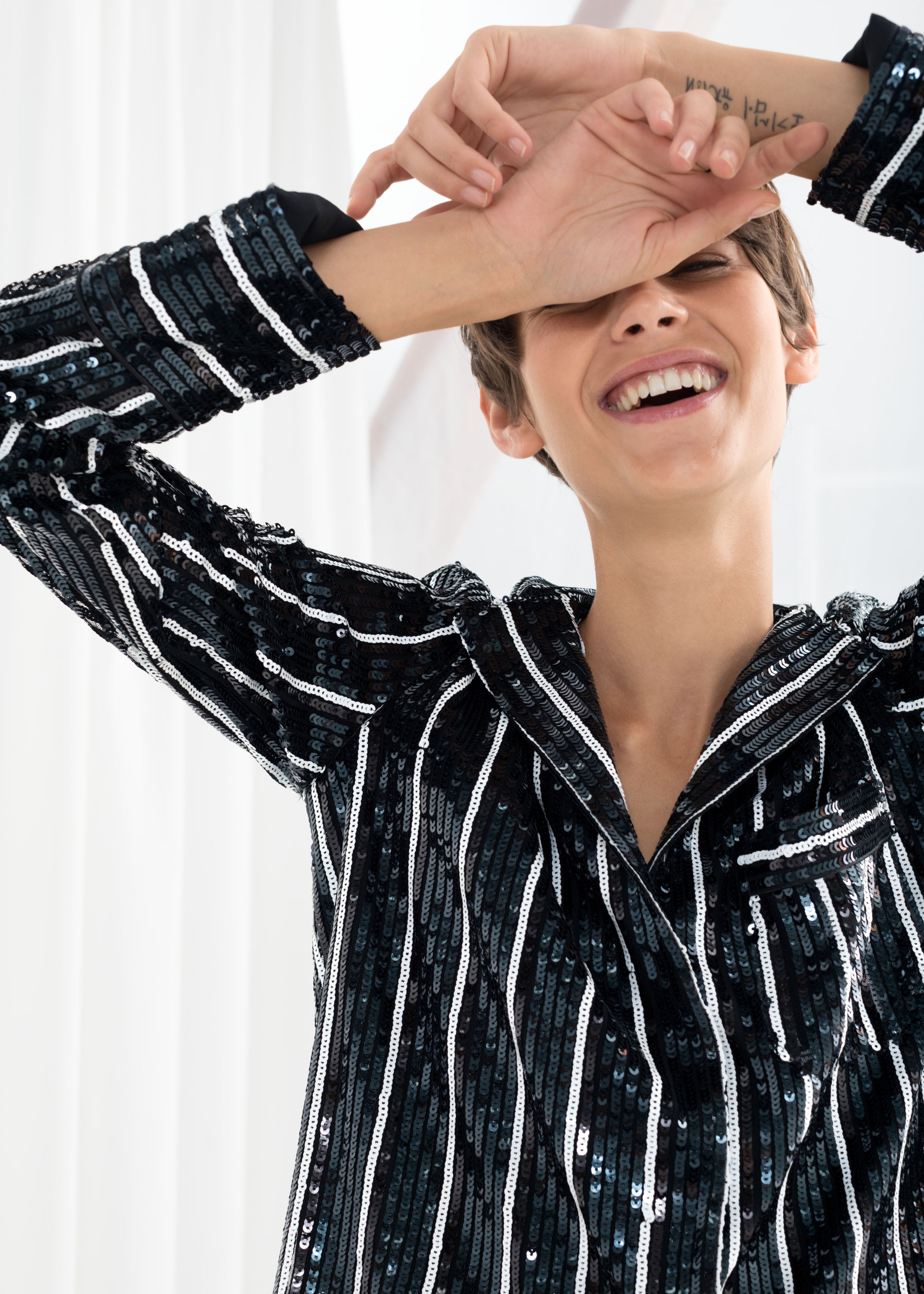 striped sequin lounge shirt