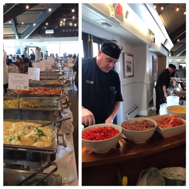 Left photo: pasta & risotto row. Right photo: made-to-order omelet station.