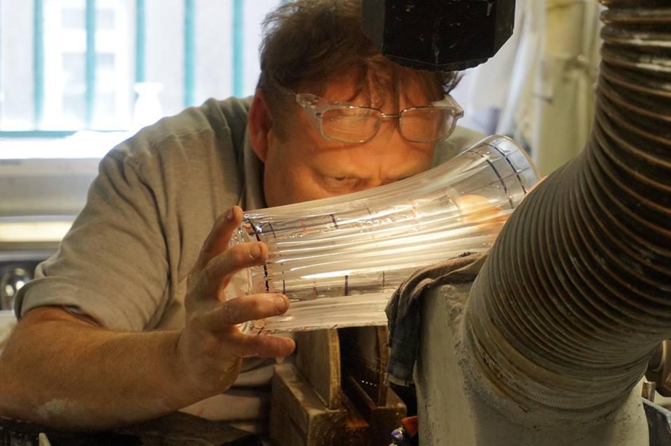 My Irish deaf friend, Brendan working at Waterford Crystal Factory.