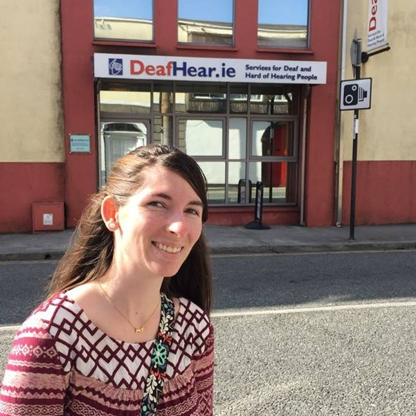 In front of DeafHear, an agency that provides services to the deaf in Ireland.