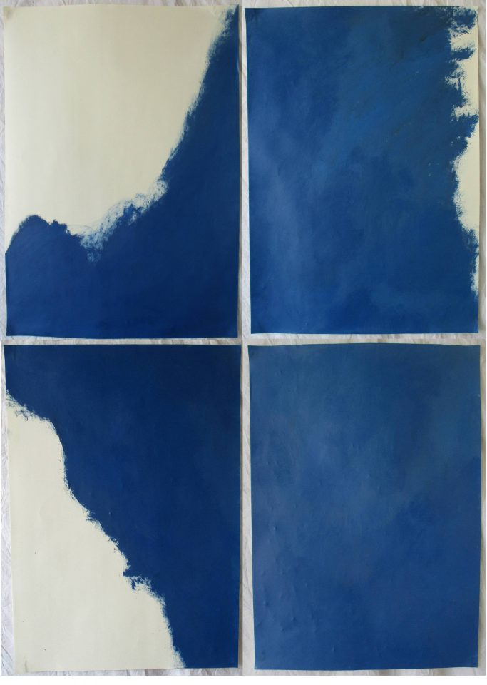 split painting (blue window)