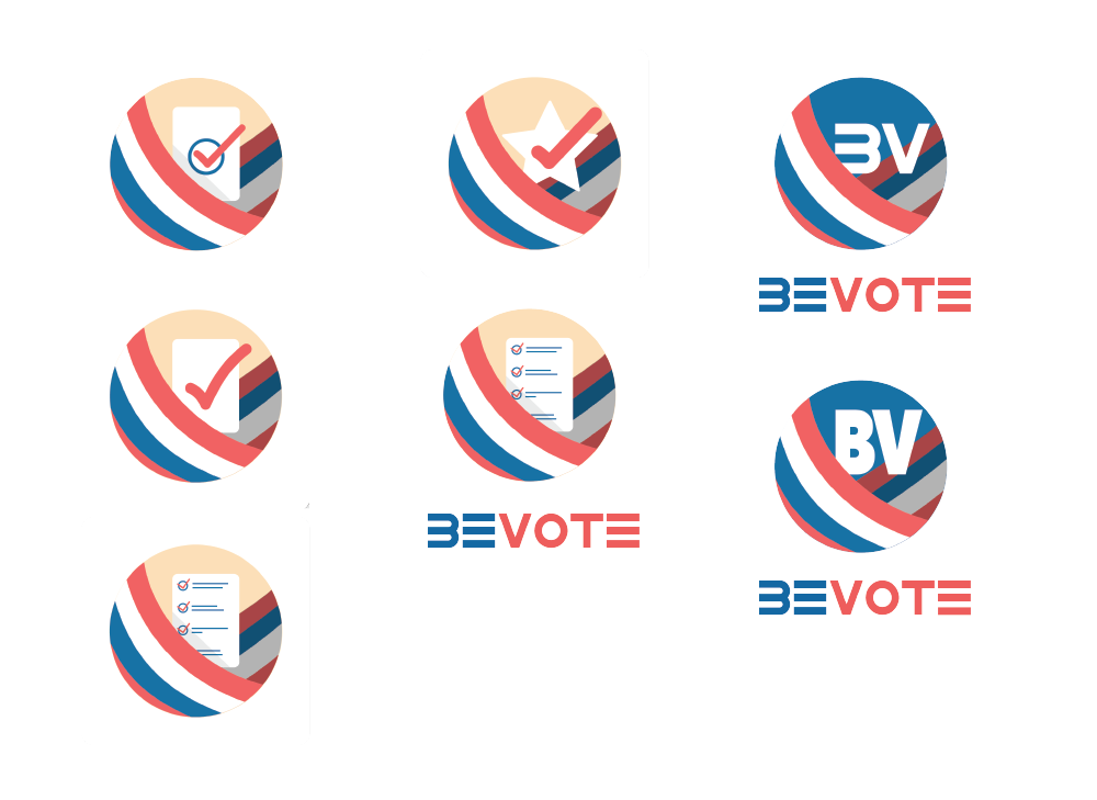 ICON ITERATIONS - I designed a few possible icons for the app. I wanted to convey to a potential user that the app was about voting. Through imagery such as a piece of paper and a checkmark (a ballot) and flag colors (red, white and blue), I wanted to get the idea of voting across to a potential user. These icons were created based on the preferences of the client. The wordmark was designed by Mona.