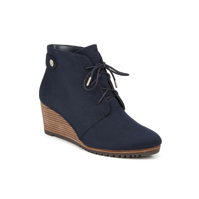 Conquer Wedge Booties- Navy