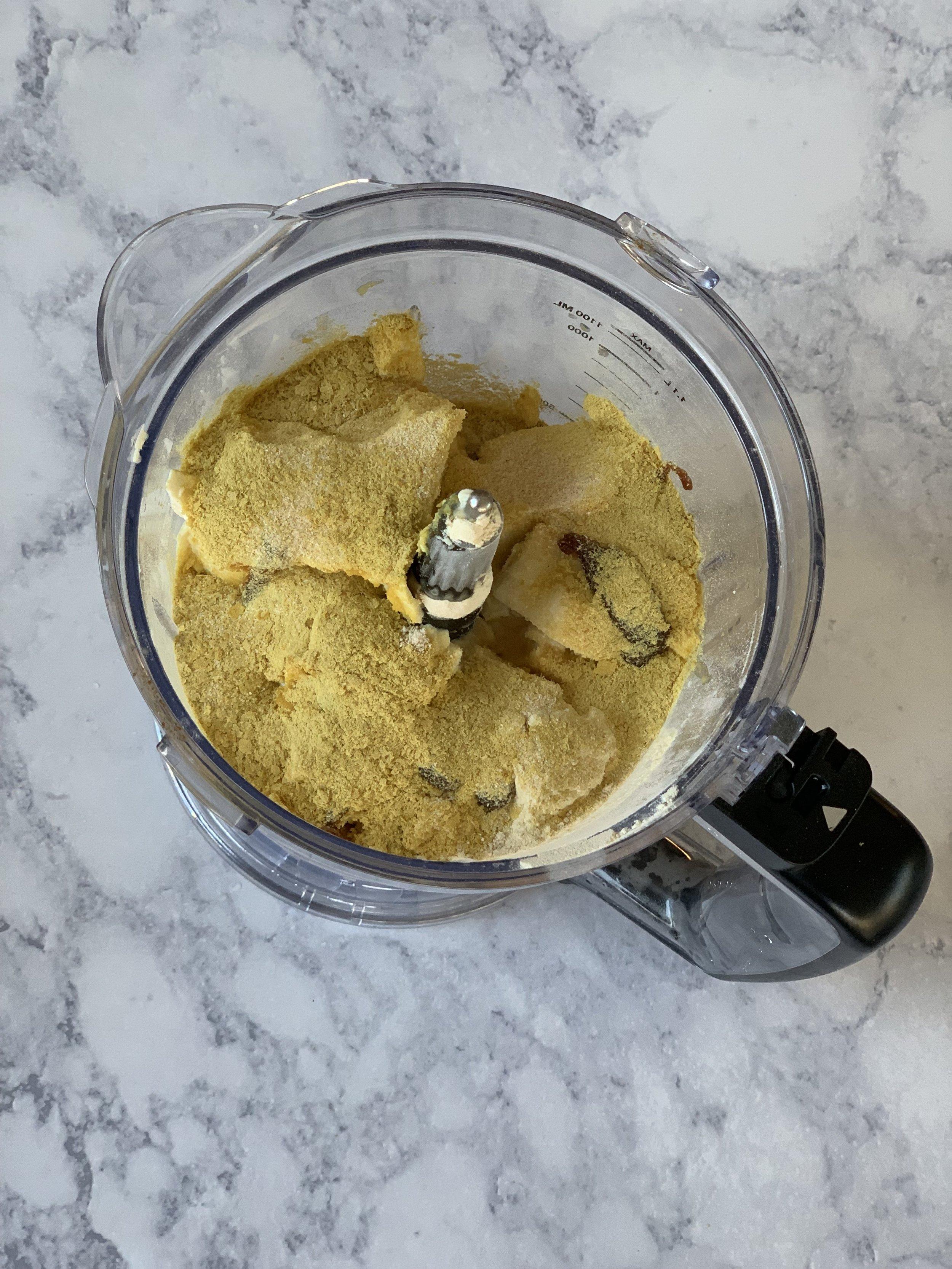 Vital Wheat Gluten, Water, Nutritional Yeast, Silken Tofu, vegetable broth, and seasonings