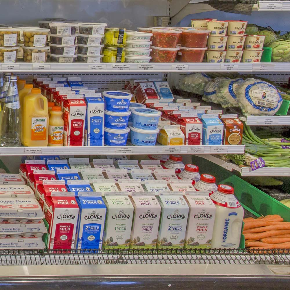 Dairy   Our supplier, Clover Dairy of Sonoma County, is known for environmentally sensitive, hormone-free farming and exacting production methods. Daily deliveries mean top quality and freshness.