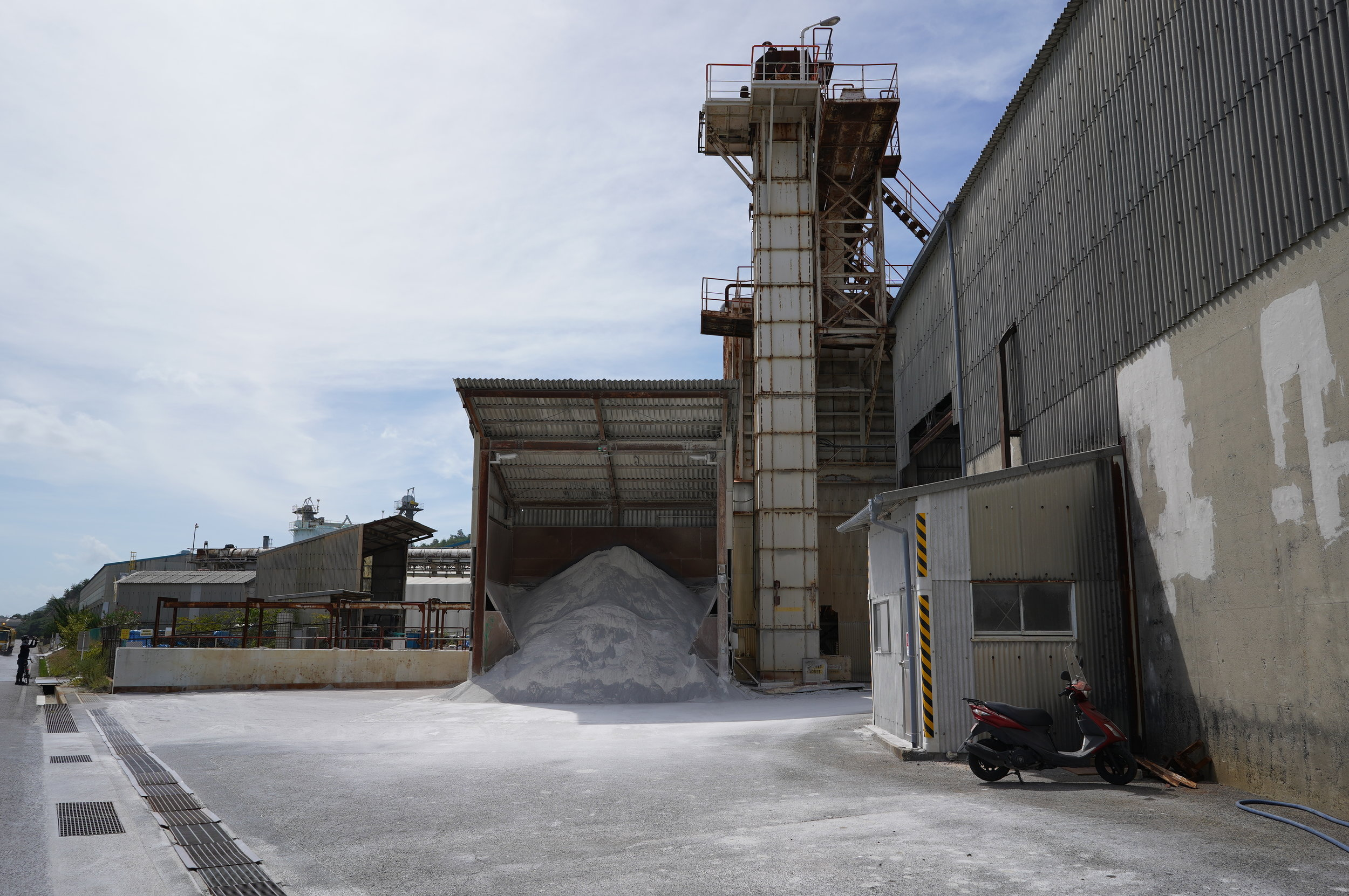 A gypsum facility on the northern end of the island.