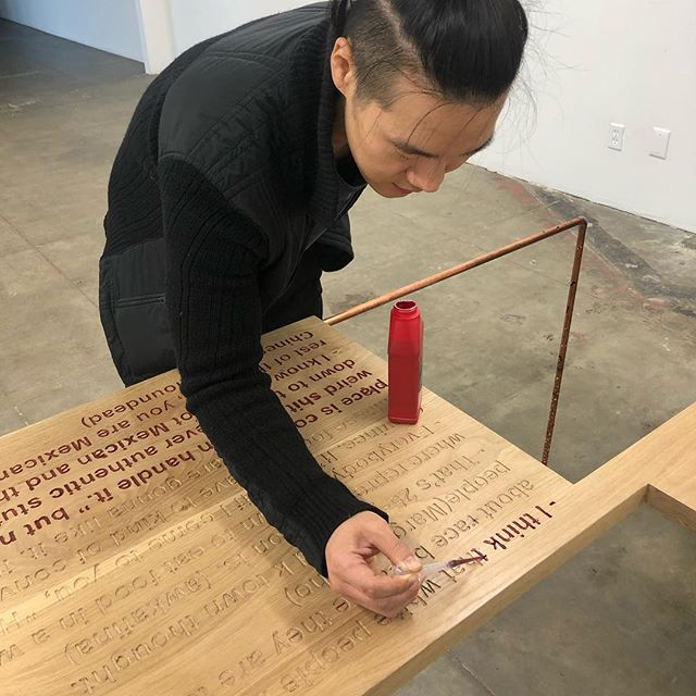 Artist in residence Jinseok Choi @coesniz working on his installation opening tomorrow at #werkartz Chinatown from 6-9pm!