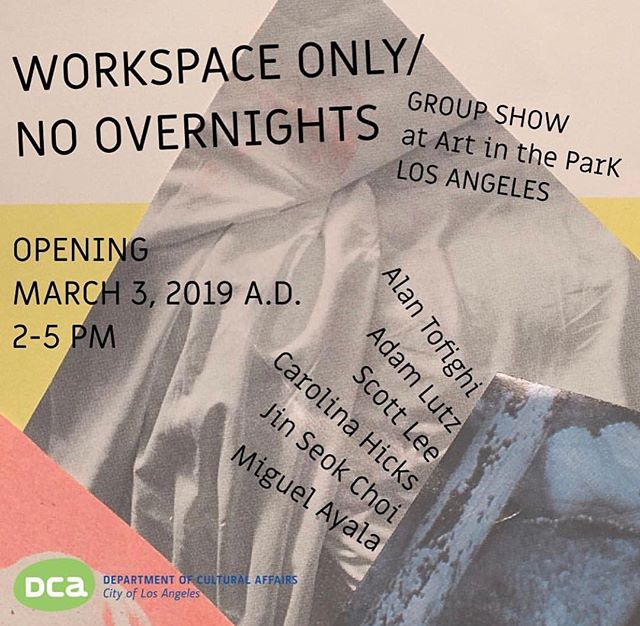 'WORKSPACE ONLY/NO OVERNIGHTS' presents works by artists discussing the widespread phenomenon of the home studio opening at @artintheparkla Sunday, March 3rd from 2-5pm