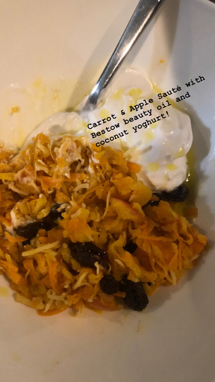 Breakfast on day one was sauteed grated carrots and apple with coconut yoghurt and my Bestow Beauty Plus oil! Yummy!