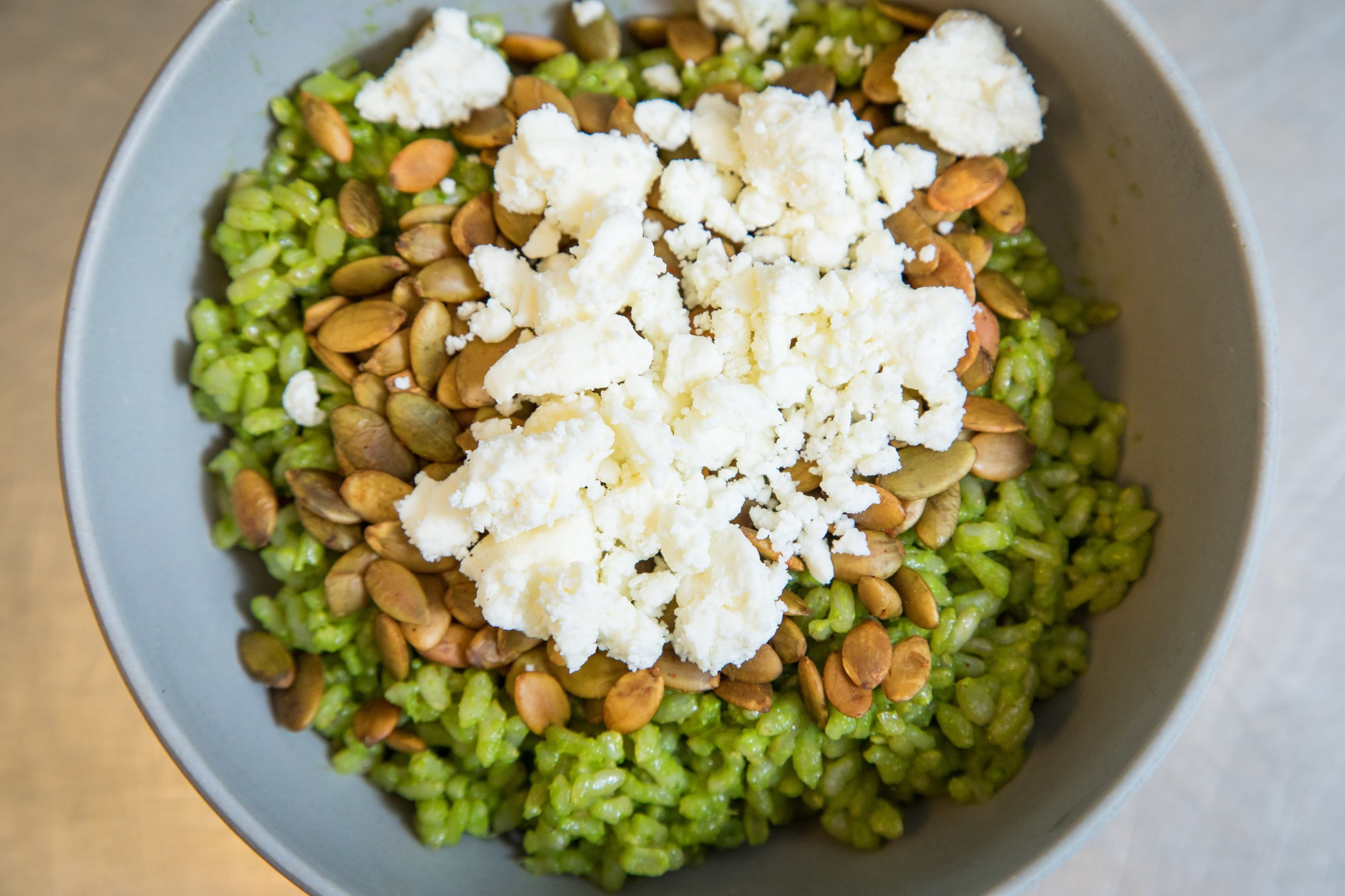 The secret ingredient in Chaia's green rice is a pesto made from herb stems. Photo by  Amanda Joy Photographics