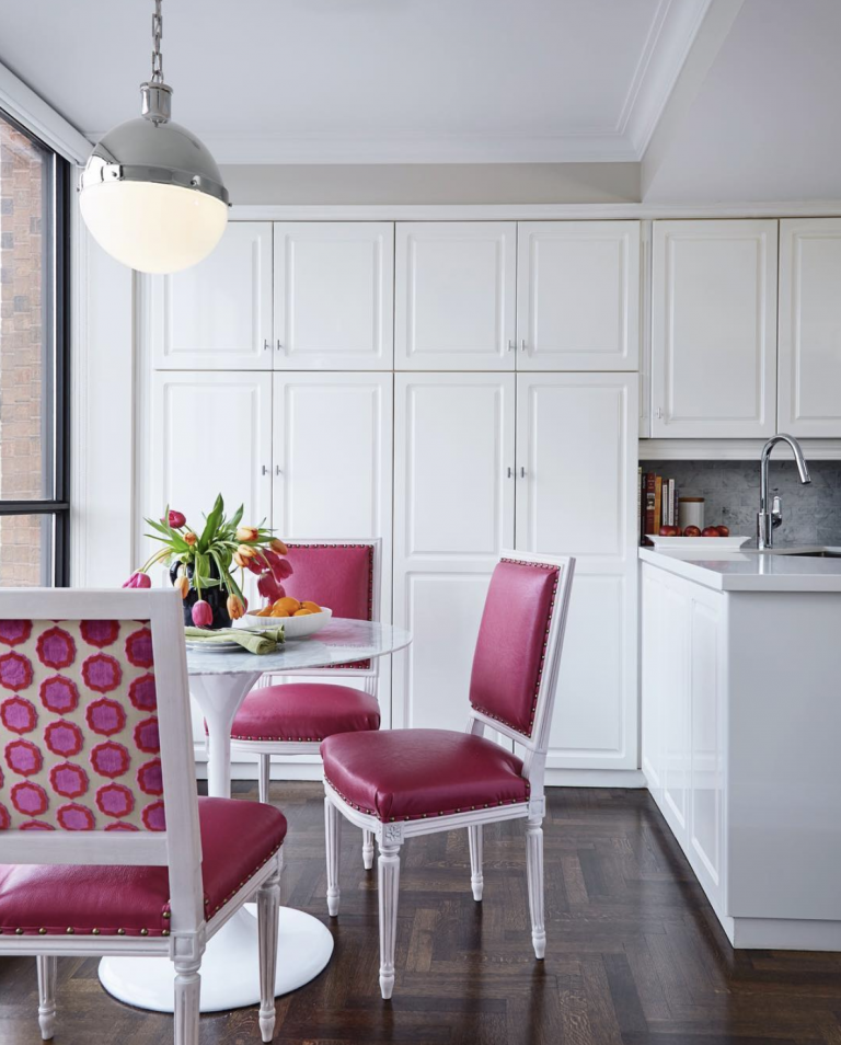 My client's gorgeous white kitchen with that pop of pink!