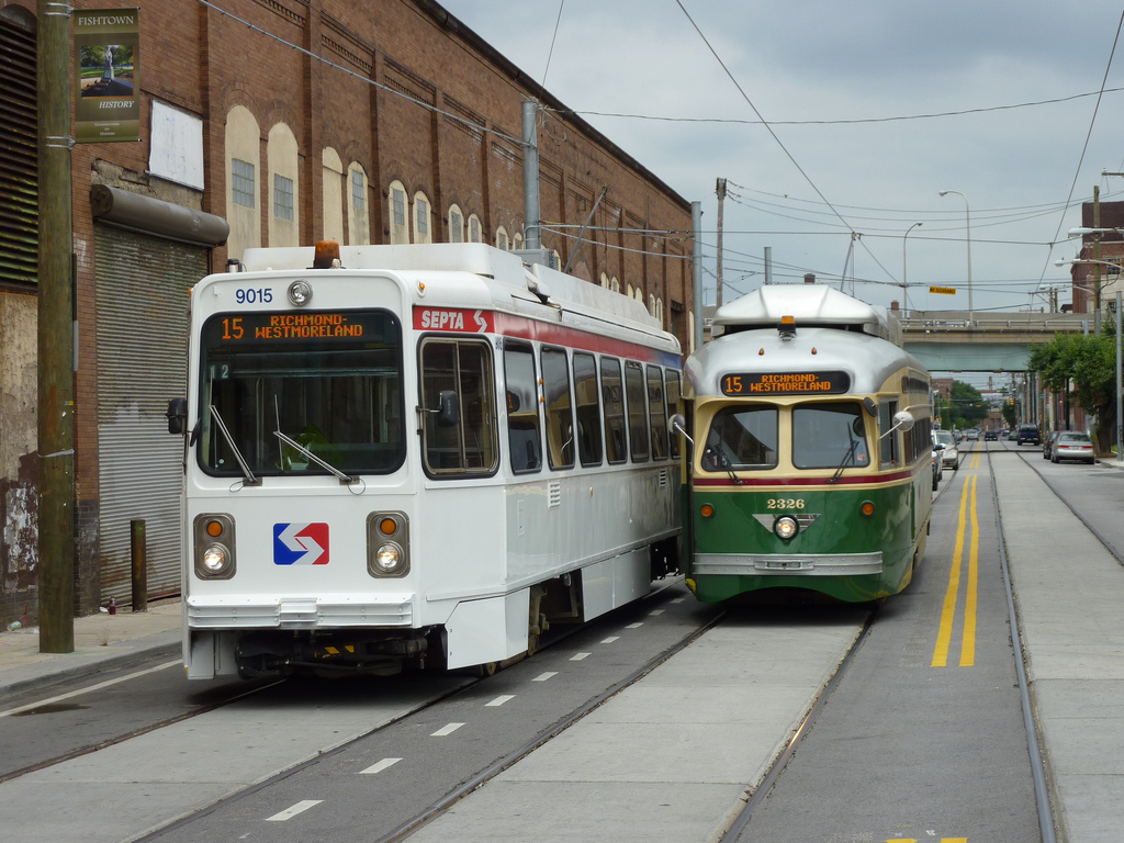 philadelphia street with trolley and tram cars.
