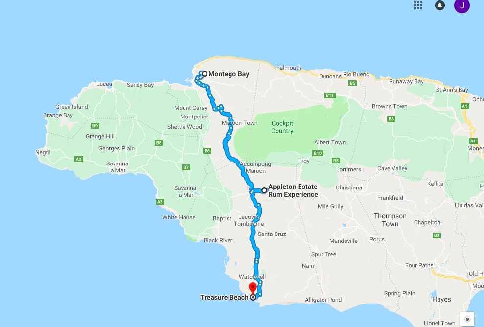Our route down to Treasure Beach