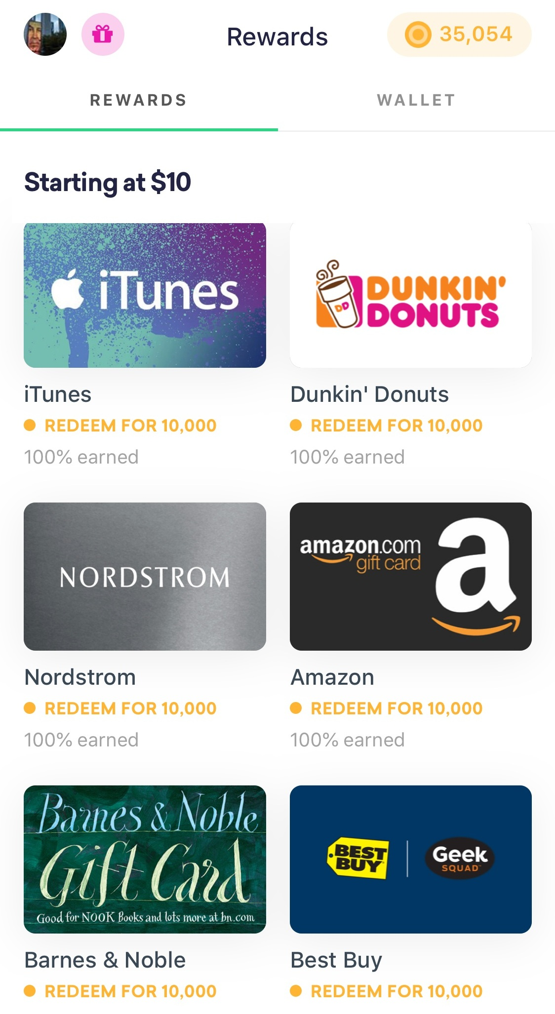Some gift card options