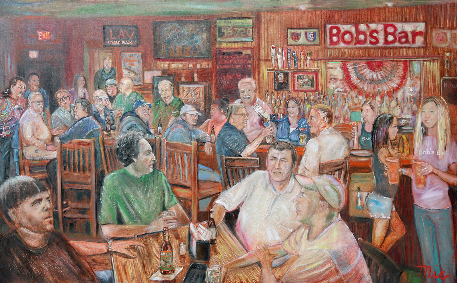 """Bobs Bar"" Grand Rapids Mi. - Private Collection Bob QuayGiclee Limited Edition and canvas prints are available. Please visit the prints gallery."