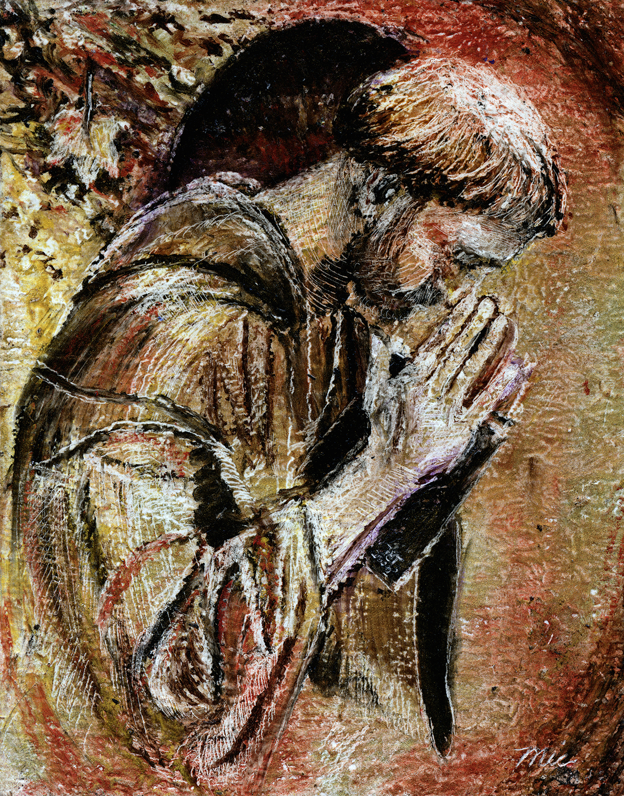 """""""The Prayer of Saint Francis"""" - Oil Pastel private collection Susan EvangelistaGiclee Limited Edition and canvas prints are available. Please visit the prints gallery."""