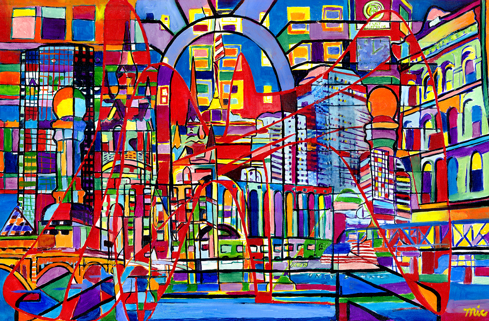 """Grand Rapids Fusion - Chosen for the 2006 Grand Rapids Festival of the Art.Oil on Canvas 24"""" x 36"""" Framed $12,000Giclee Limited Edition and canvas prints are available. Please visit the prints gallery."""