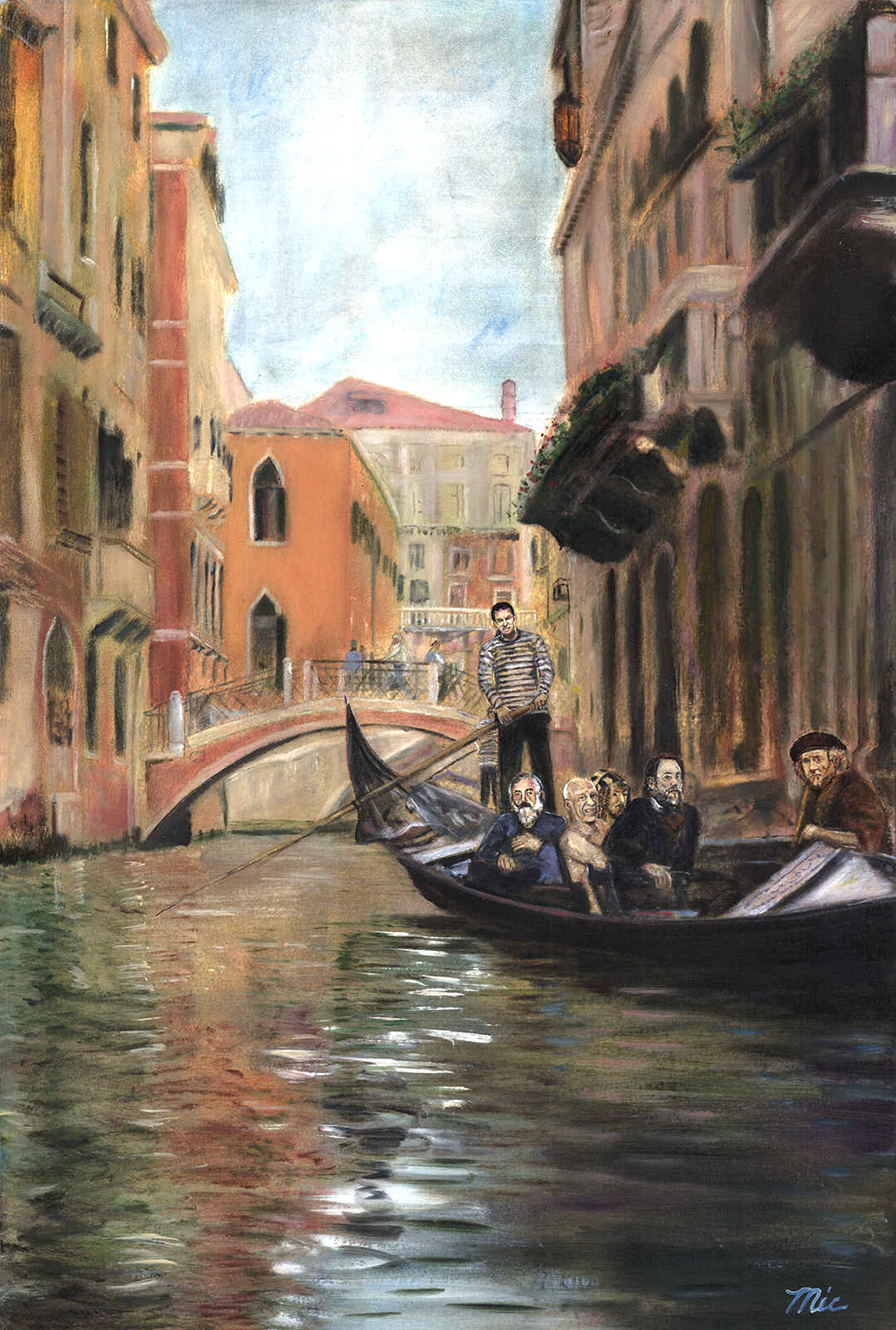 """""""Touring Masters"""" Venice, Italy - Monet, Picasso, Durer, Rubens, Rembrandt (Gondolier Micasso)Oil on Italian panel, Private Collection Jim Boylan.Giclee Limited Edition and canvas prints are available. Please visit the prints gallery."""