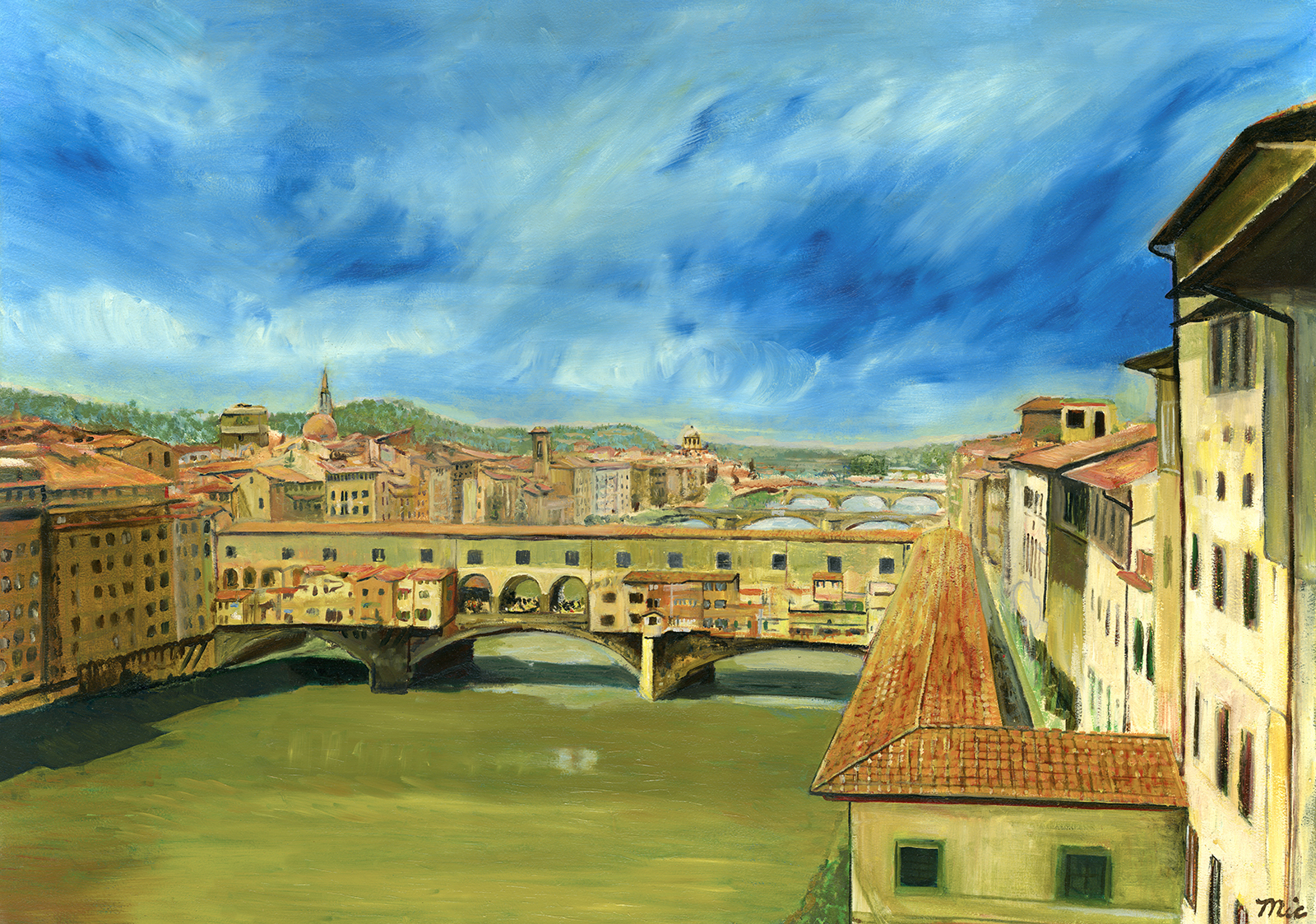 """""""Ponte Vecchio""""Florence, Italy - Oil on panel, Private collection Jim Lahnala Rick Wright.Giclee Limited Edition and canvas prints are available. Please visit the prints gallery."""
