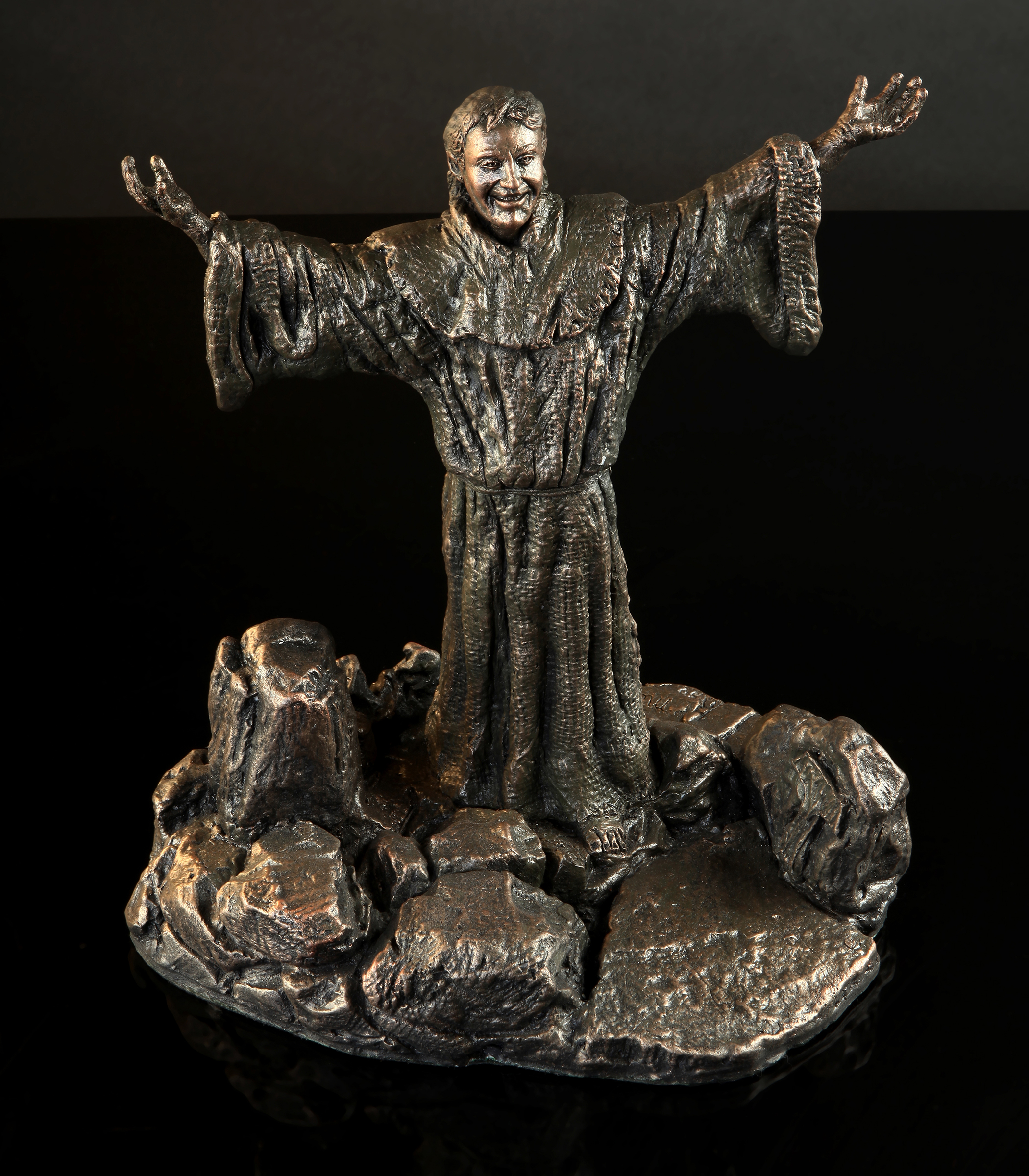 Francis with Great Joy - Cold Cast bronze $1,200.   Cold Cast Bronze stone $800Replicas hand made by Mic. To purchase please Call or email Mic