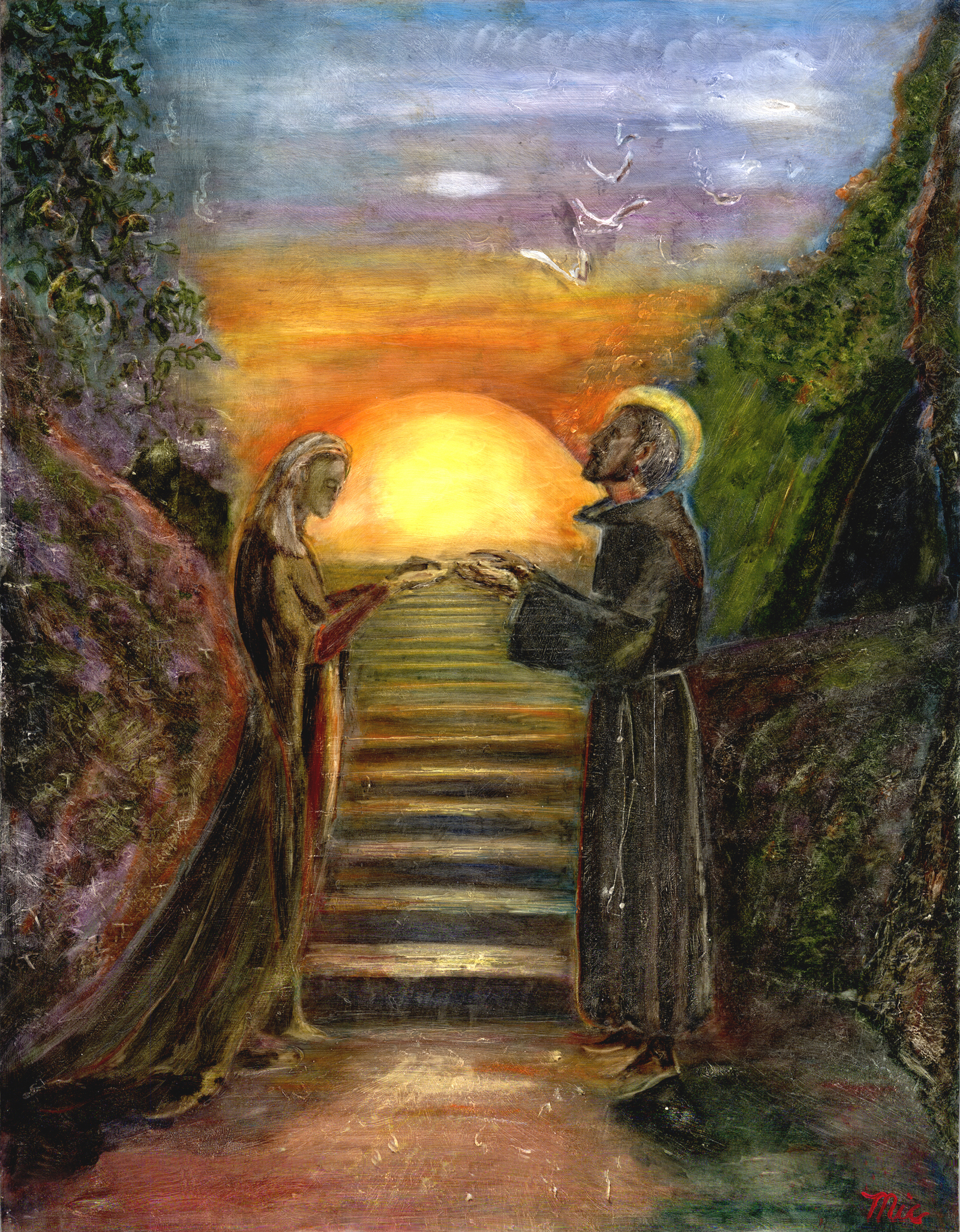 """""""The Peace Keepers"""" Saint Francis and Saint Clare - Oil on panel Private Collection David and Joan BellamyGiclee Limited Edition and canvas prints are available. Please visit the prints gallery."""