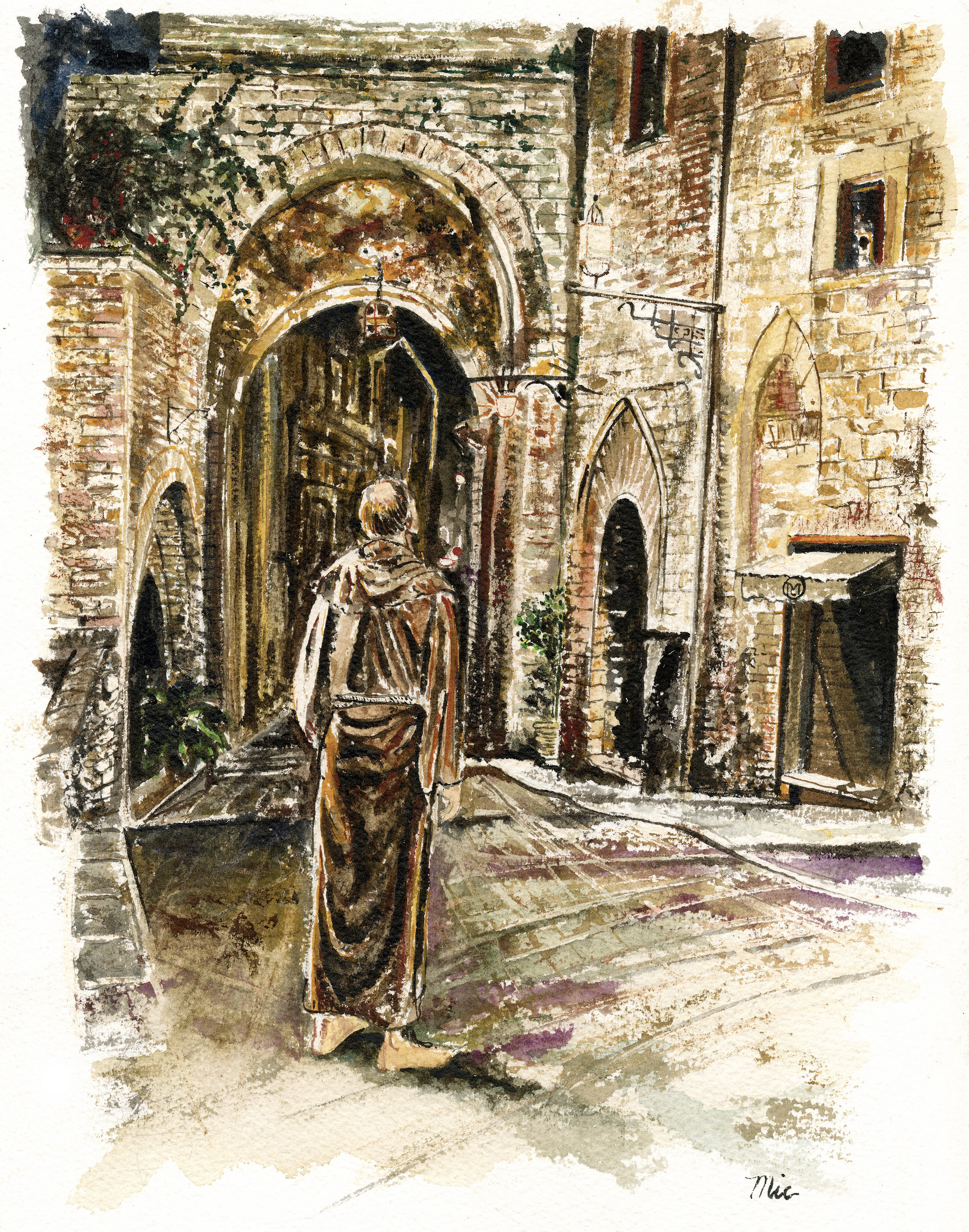 """Saint Francis in Assisi - Watercolor private collection """"unknown""""Giclee Limited Edition and canvas prints are available. Please visit the prints gallery."""